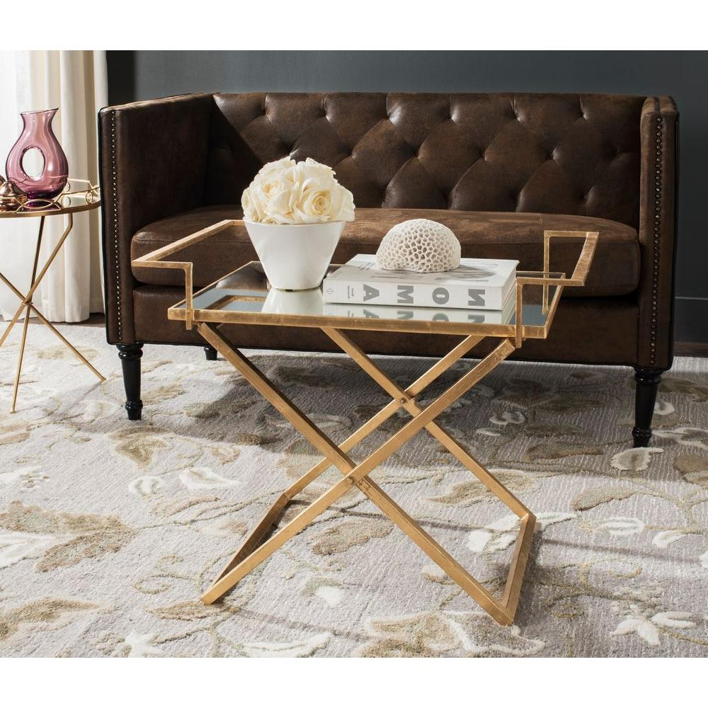 Gold Leaf Collection Coffee Tables In Well Known Safavieh Pierre Antique Gold Leaf Coffee Table Fox2559A – The Home Depot (Gallery 10 of 20)