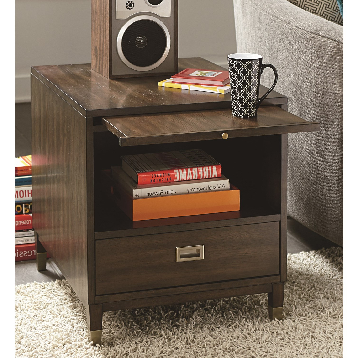 Hammary Furniture Stratus Umber Brown Pecan Rectangular Drawer End Throughout 2018 Stratus Cocktail Tables (View 15 of 20)