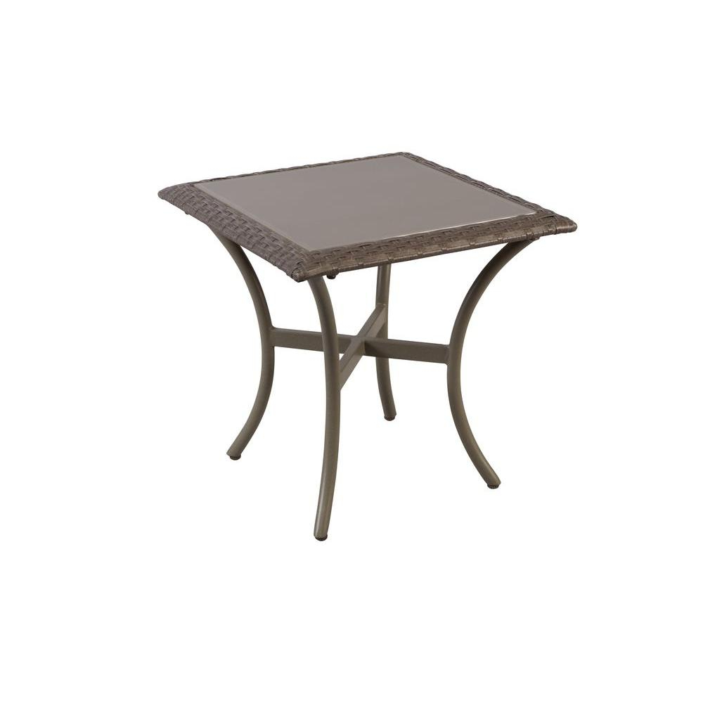 Hampton Bay Posada 18 In. Glass Top Outdoor Patio Side Table 153 120 Intended For Most Recently Released Jackson Marble Side Tables (Gallery 9 of 20)