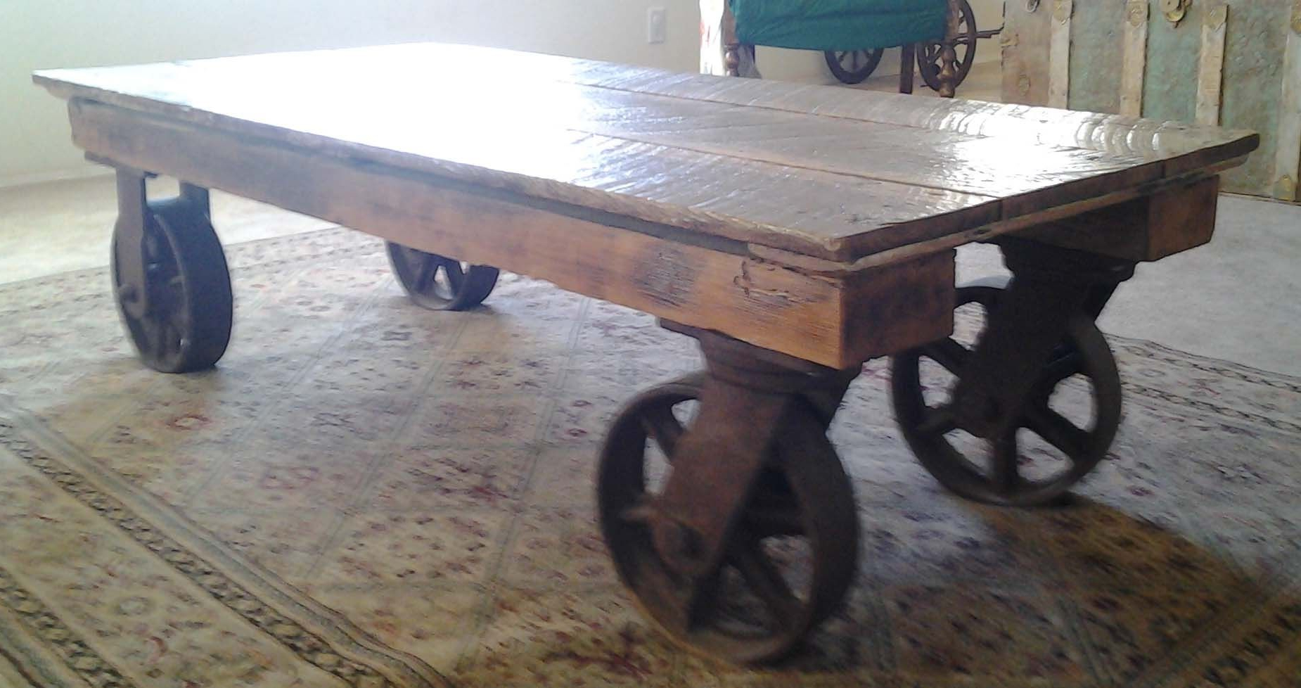 Hand Made Coffee Table With Iron Industrial Wheelsthe Farm At With Most Recently Released Iron Wood Coffee Tables With Wheels (View 8 of 20)