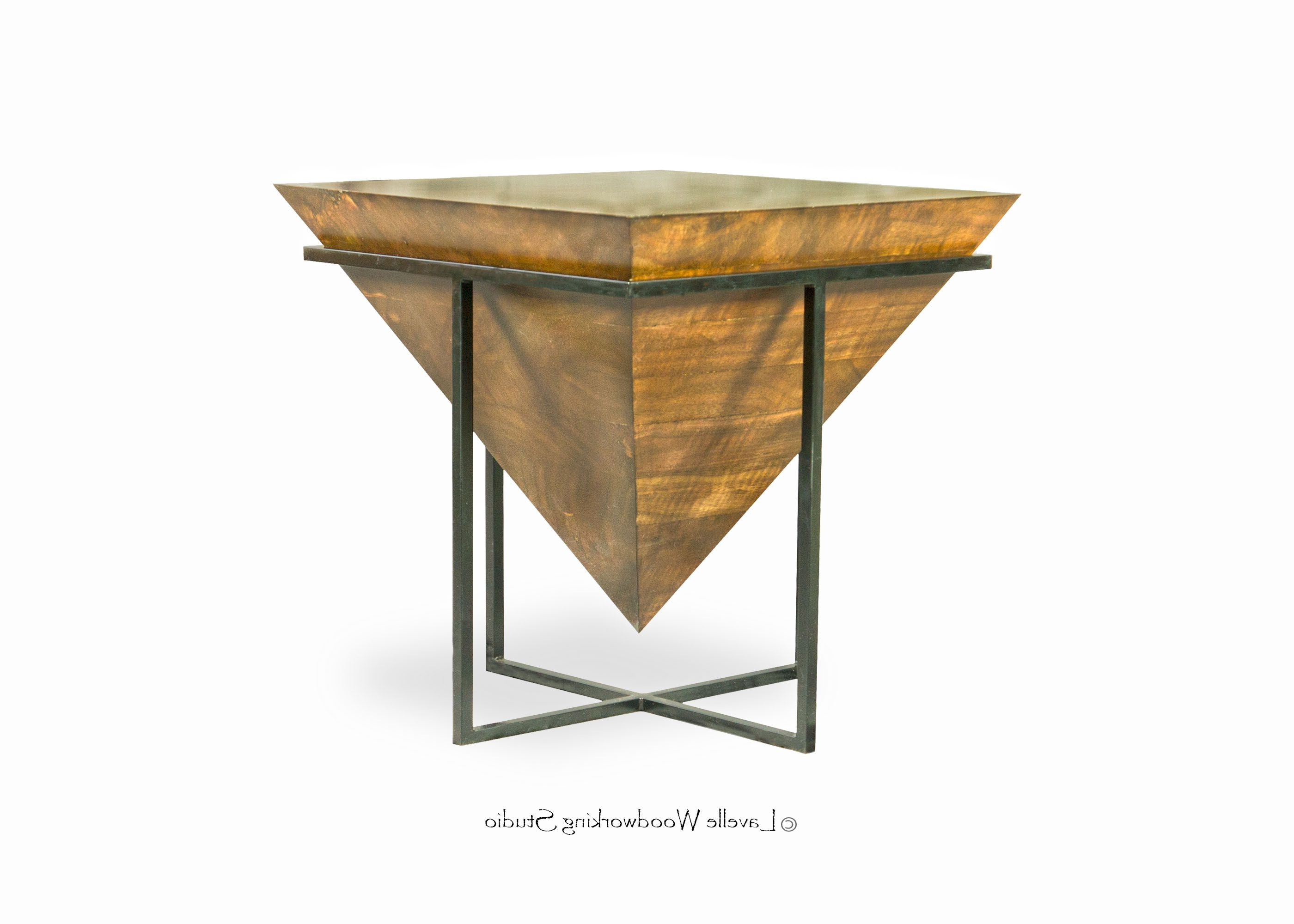 Hand Made Mara Table Inverted Wood Pyramid With Metal Base In Recent Inverted Triangle Coffee Tables (View 7 of 20)