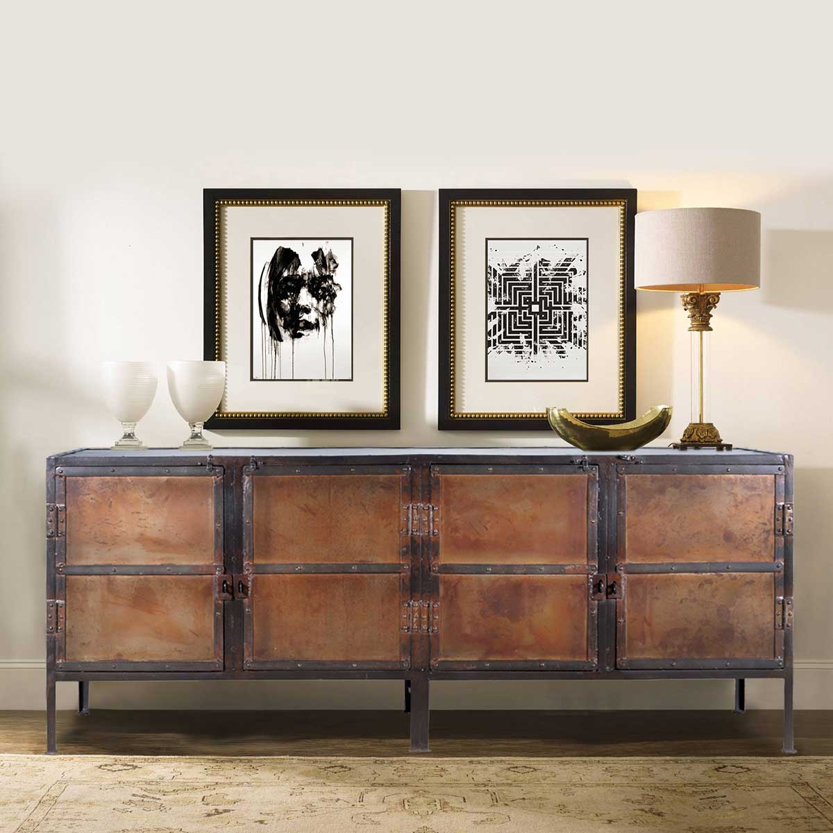 Handmade Industrial Media Console Buffet Or Credenza Wood Iron For Popular Neeja 3 Door Sideboards (View 4 of 20)