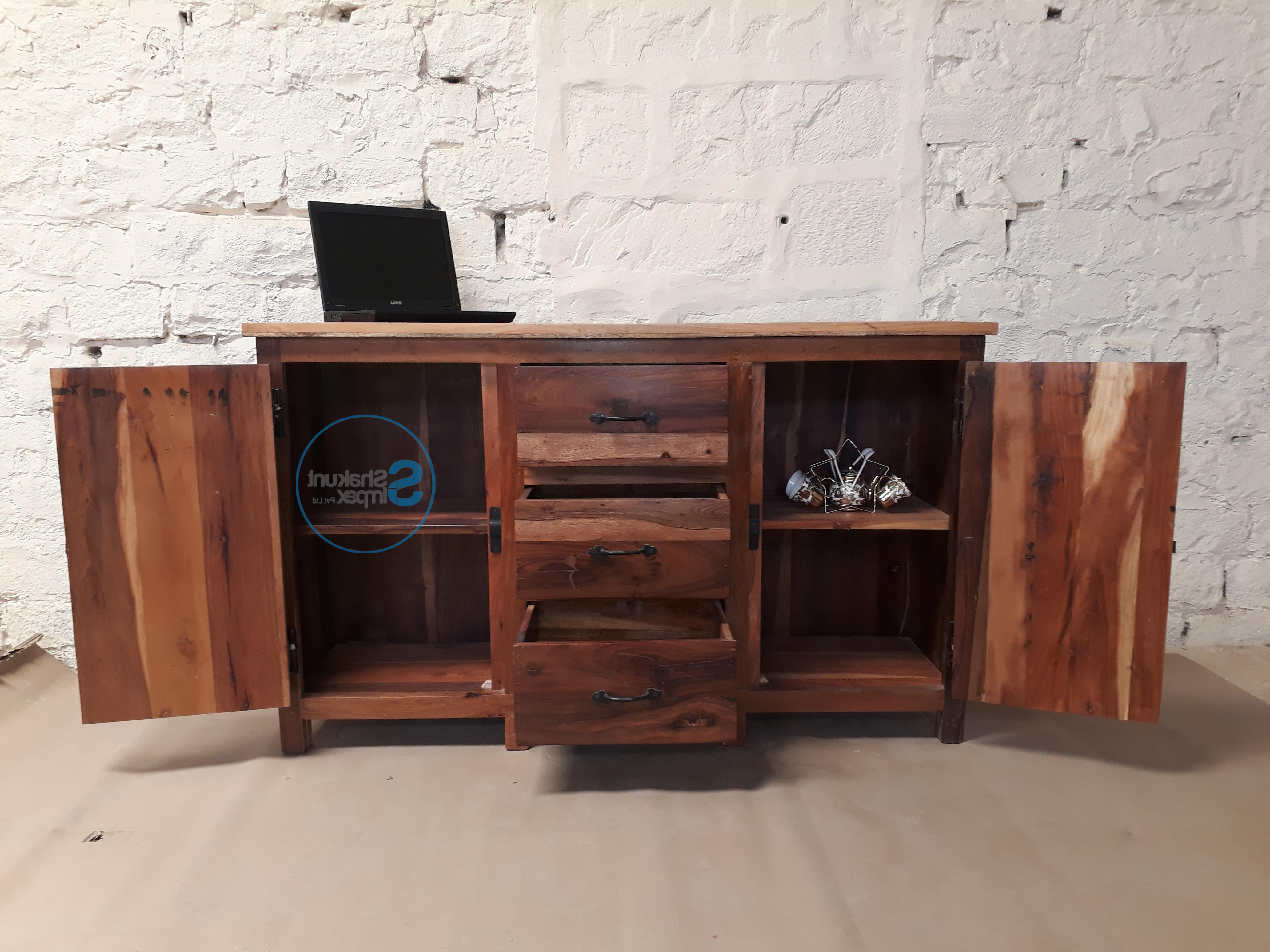 Handmade Reclaimed Wood Sideboard – Shakunt Vintage Furniture Throughout Widely Used Corrugated Natural 6 Door Sideboards (Gallery 8 of 20)