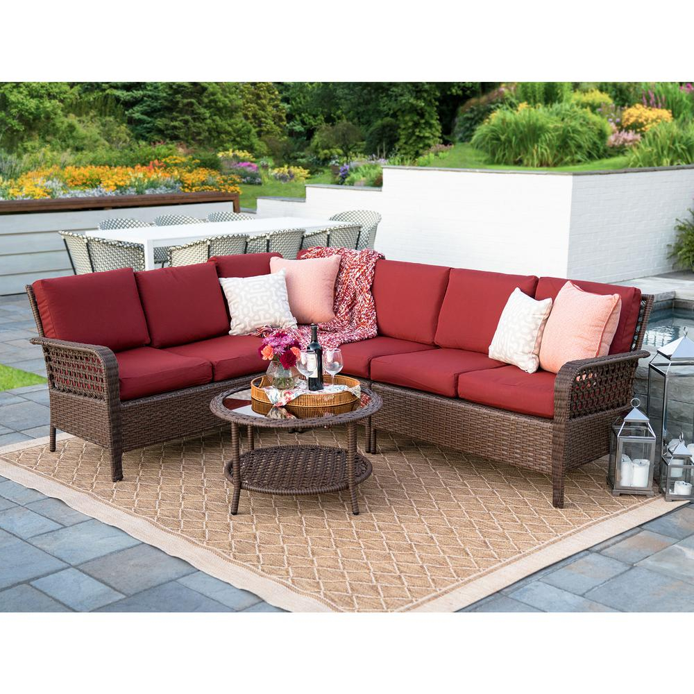 Haven Blue Steel 3 Piece Sectionals Regarding Popular Leisure Made Bessemer 5 Piece Wicker Outdoor Sectional Set With Red (View 20 of 20)