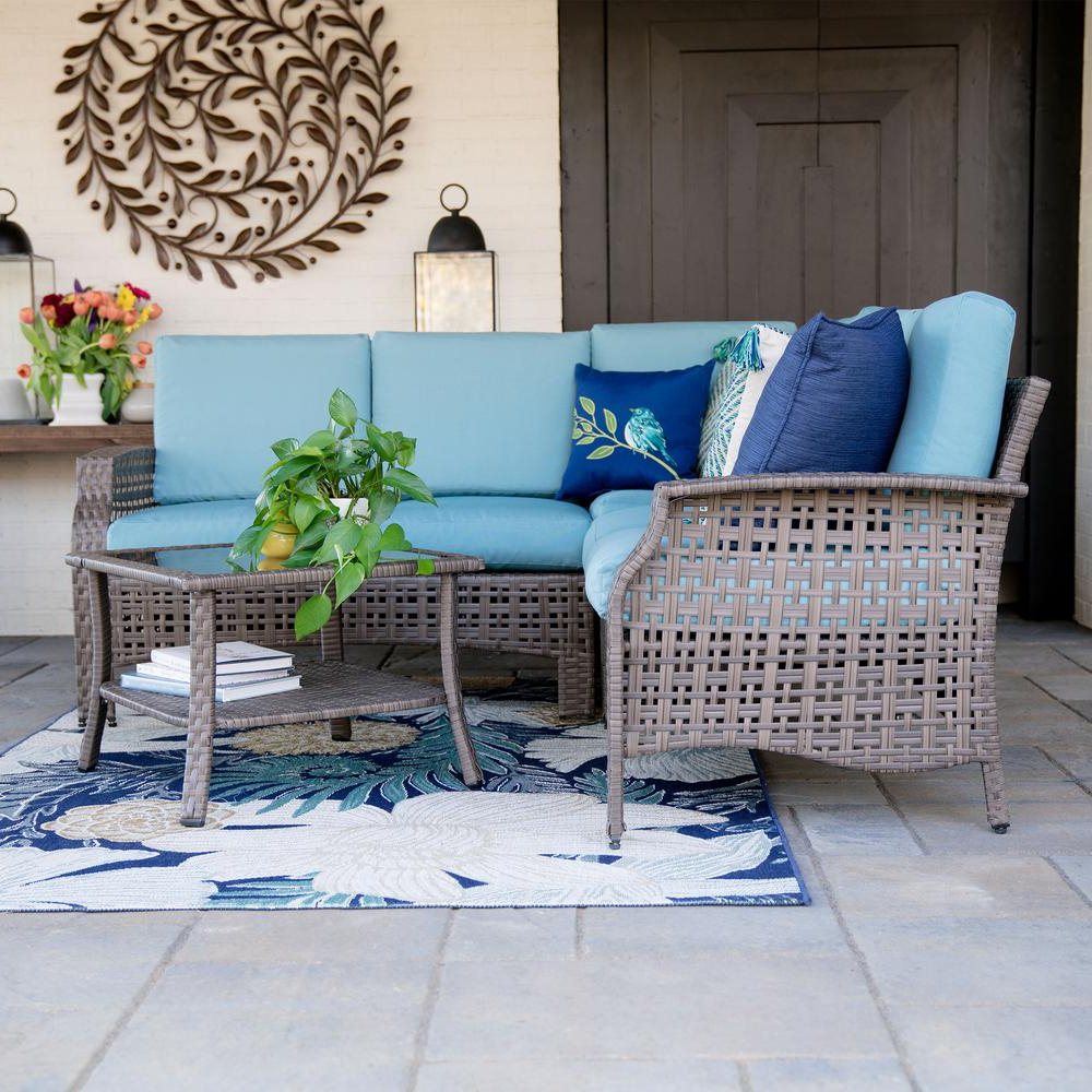 Haven Blue Steel 3 Piece Sectionals With Regard To 2018 Leisure Made Concord 4 Piece Wicker Outdoor Sectional Set With Spa (View 15 of 20)