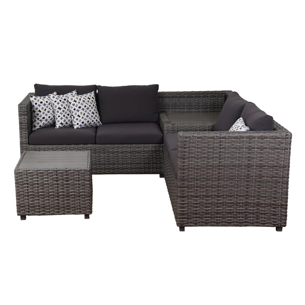 Haven Blue Steel 3 Piece Sectionals With Well Known Atlantic Mustang 3 Piece Synthetic Wicker Sectional Patio Set With (View 12 of 20)