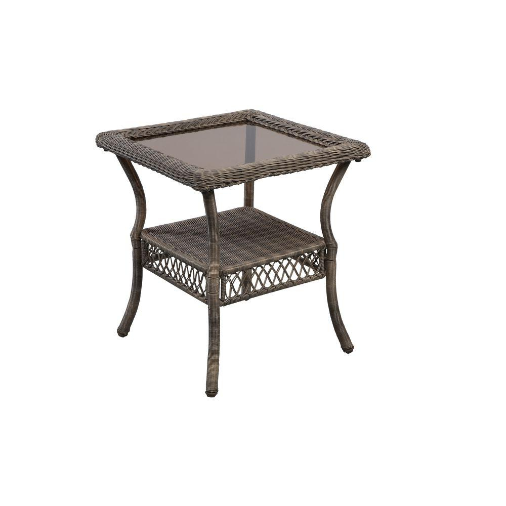 Haven Coffee Tables Inside Newest Hampton Bay Spring Haven Grey Wicker Outdoor Patio Side Table (View 8 of 20)