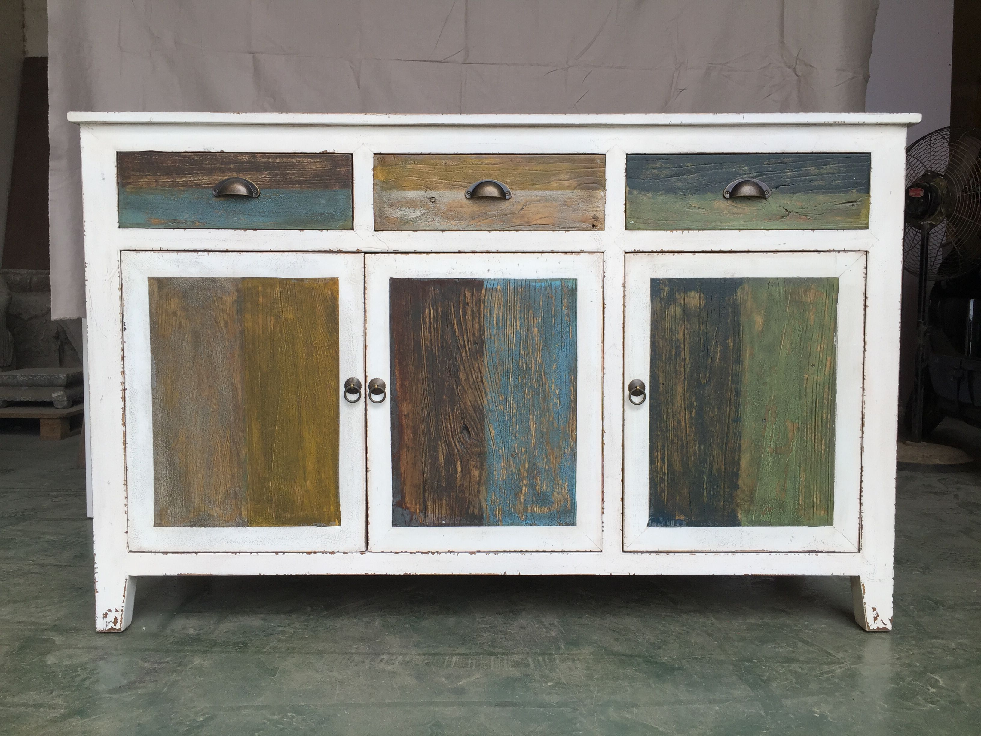 Helms Sideboards With Regard To Current Rustic Distressed White Furniture With Multi Color Drawers Doors (View 11 of 20)