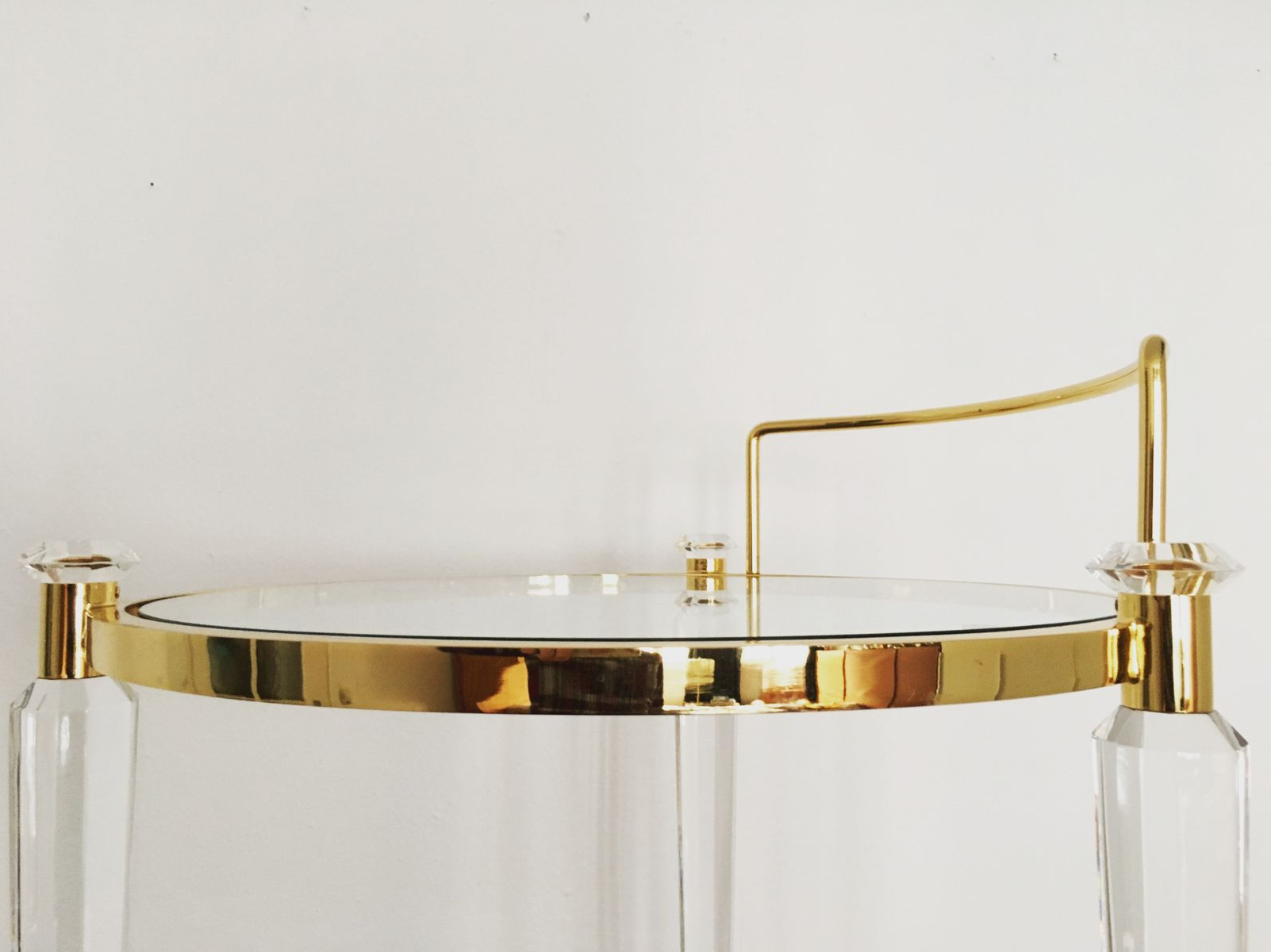 Hollywood Regency Brass And Acrylic Bar Cart, 1960S For Sale At Pamono Intended For Trendy Acrylic Glass And Brass Coffee Tables (View 19 of 20)