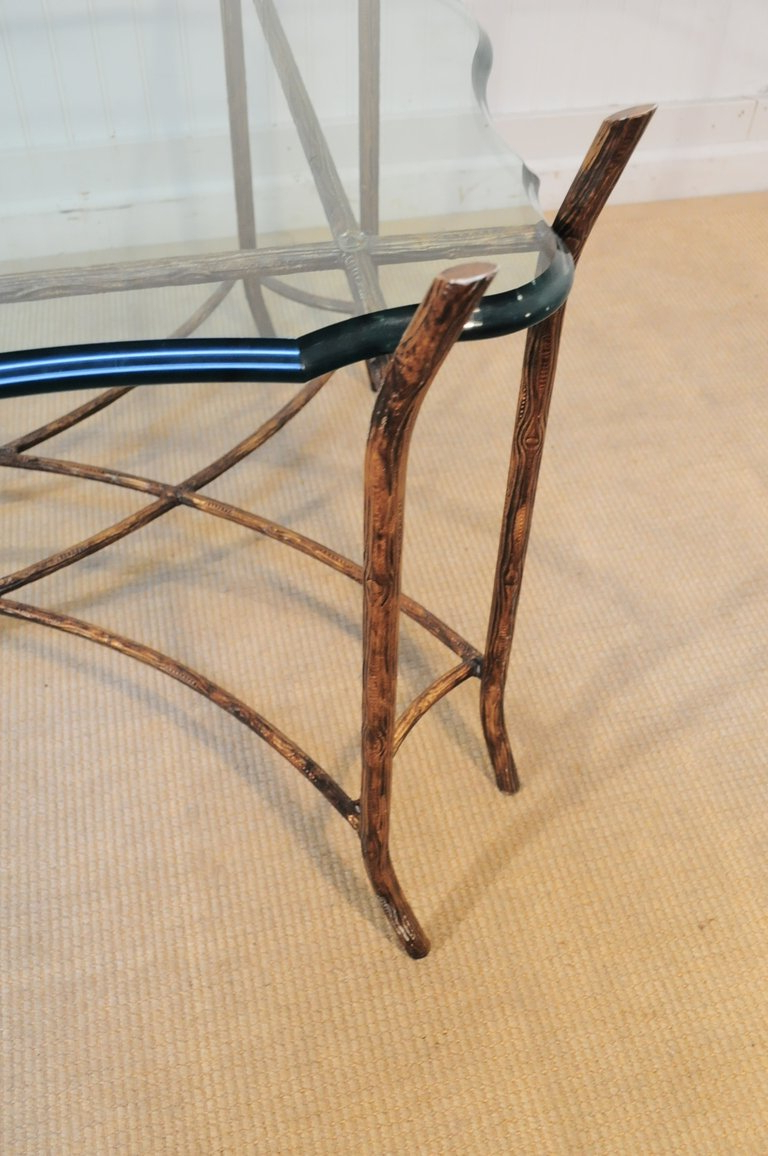 Hollywood Regency Iron Faux Bois And Glass French Bagues Style With Regard To Well Known Faux Bois Coffee Tables (Gallery 2 of 20)