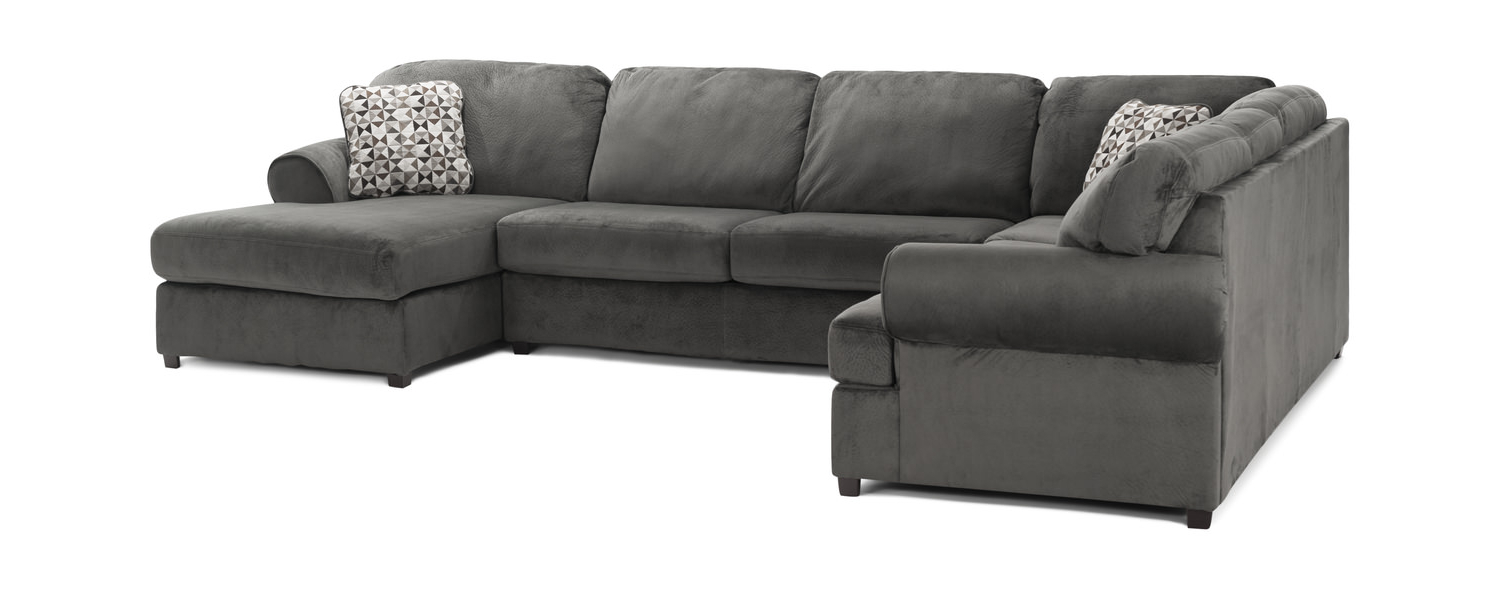 Hom Furniture Intended For Trendy Haven Blue Steel 3 Piece Sectionals (View 3 of 20)