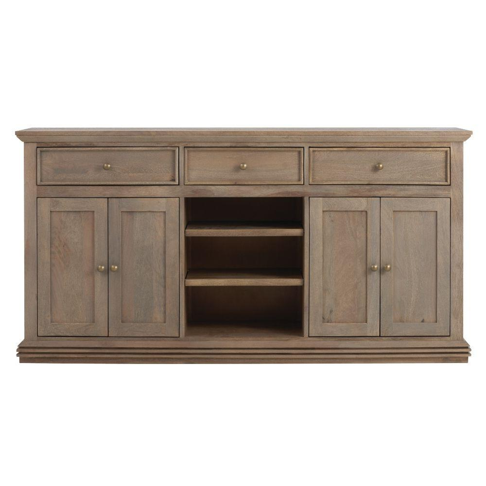 Home Decorators Collection Aldridge Antique Grey Buffet 9415000270 With Famous Aged Pine 3 Drawer 2 Door Sideboards (View 12 of 20)