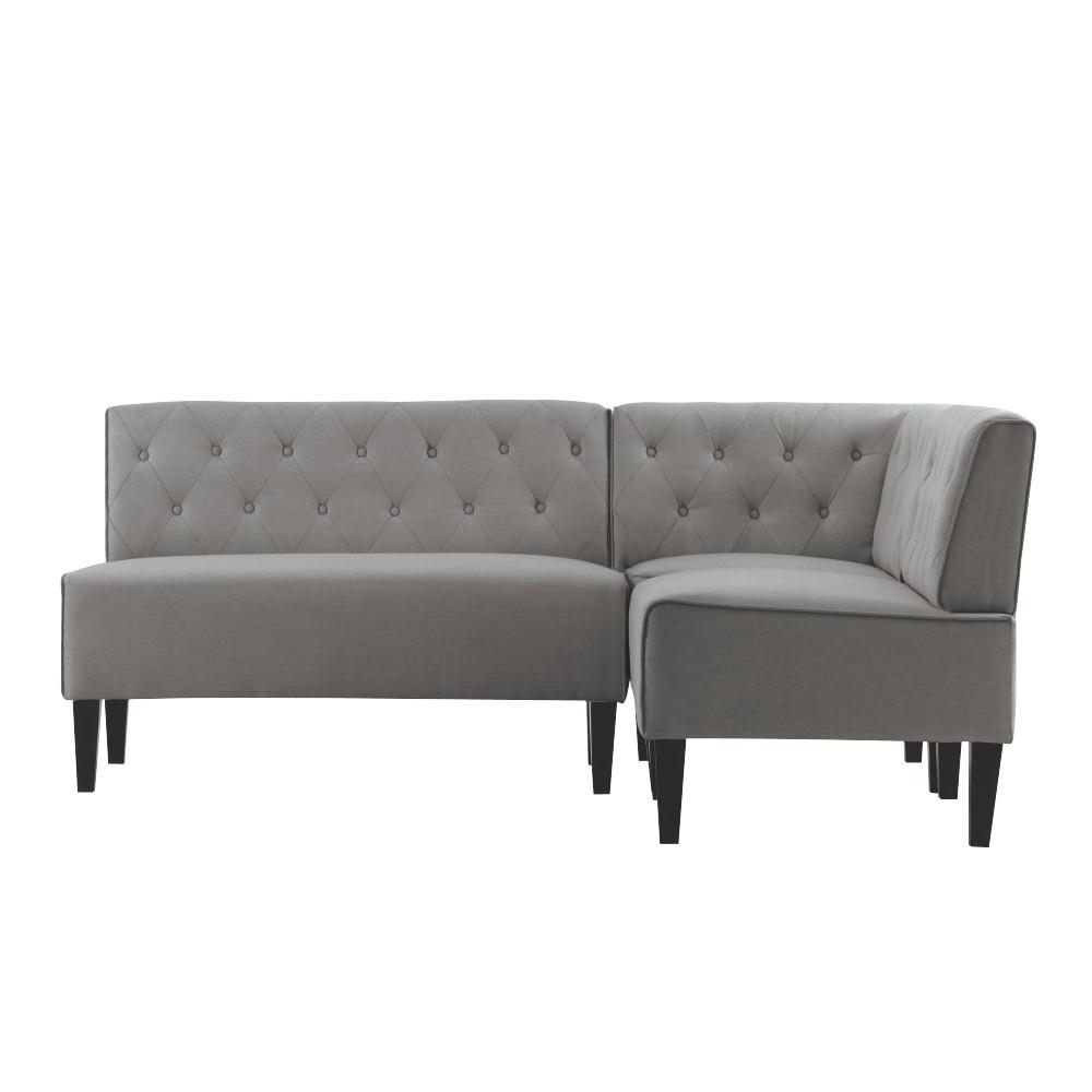 Home Decorators Collection Easton Grey Linen Breakfast Nook Lth 01 Within 2019 Aquarius Dark Grey 2 Piece Sectionals With Laf Chaise (View 8 of 20)