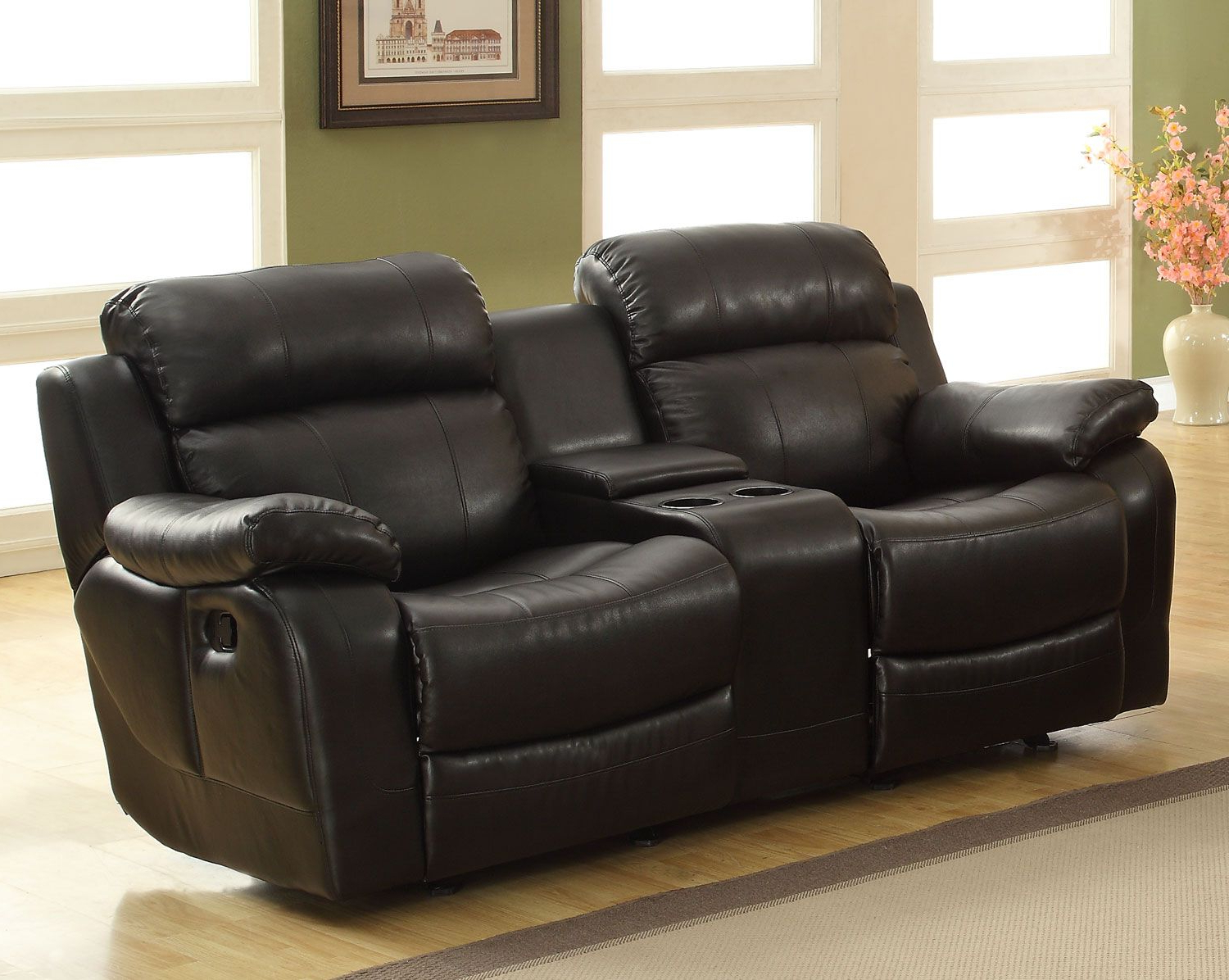 Homelegance Marille Love Seat Glider Recliner With Center Console Throughout Most Recently Released Travis Cognac Leather 6 Piece Power Reclining Sectionals With Power Headrest & Usb (Gallery 11 of 20)