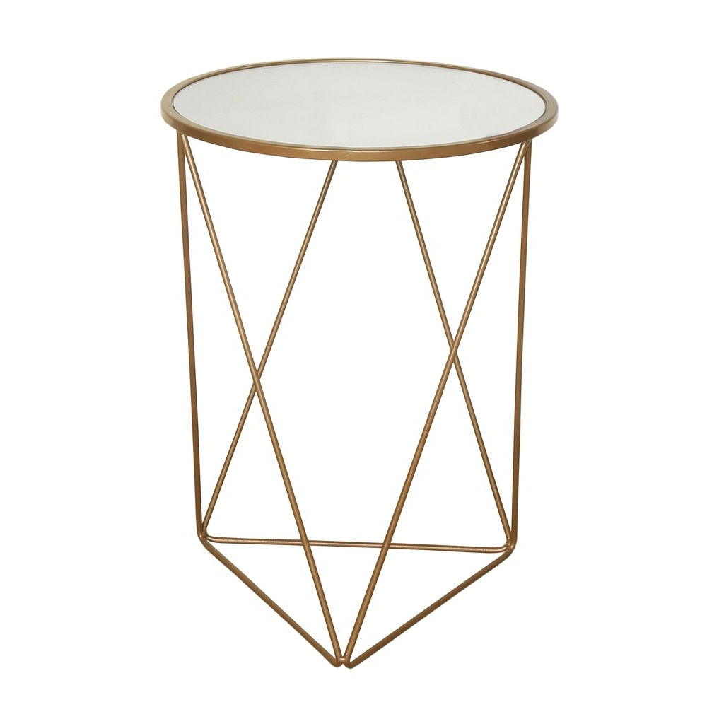 Homepop Metal Accent Table Triangle Gold Base Round Glass Top Within 2018 Intertwine Triangle Marble Coffee Tables (View 4 of 20)
