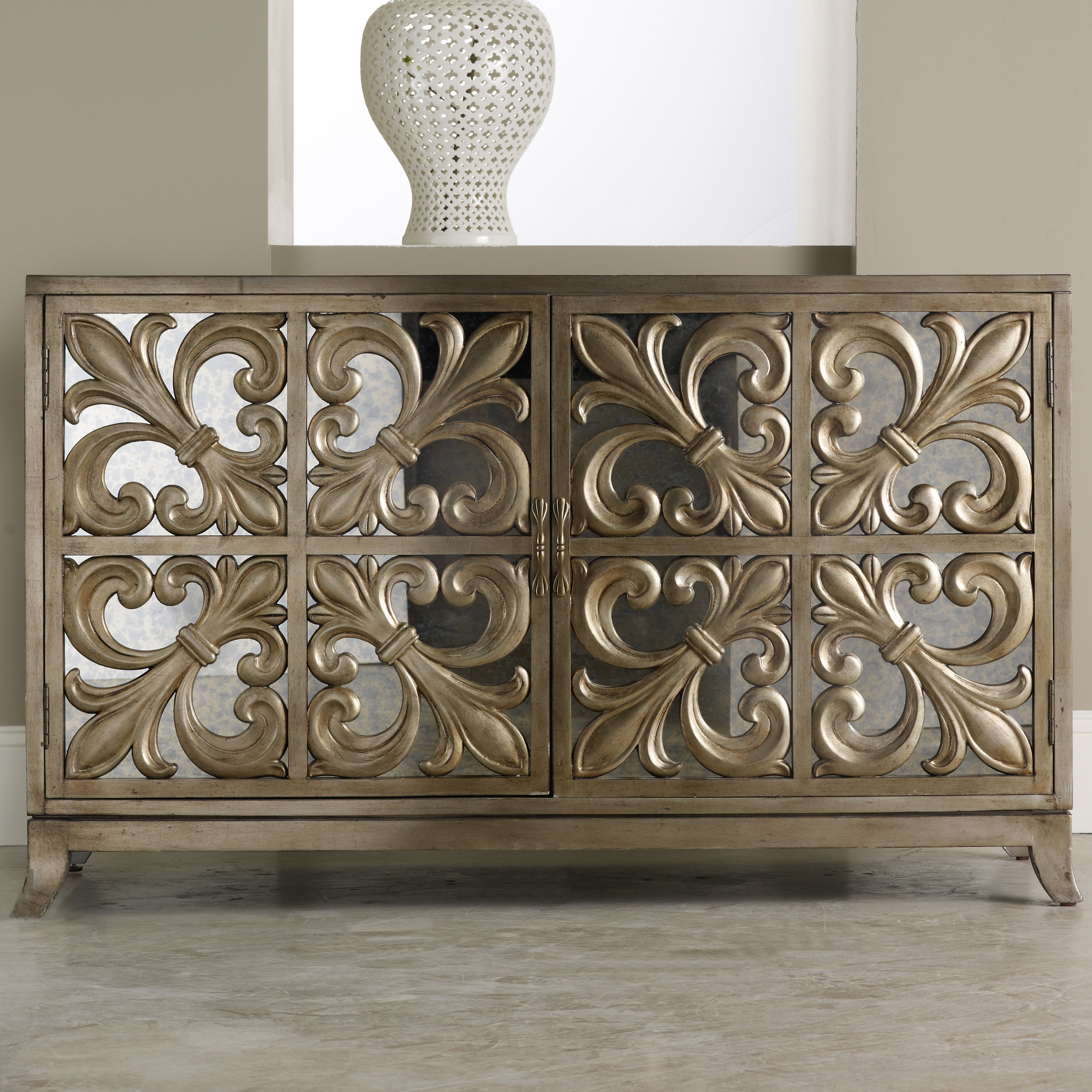 Hooker Furniture Melange Fleur De Lis Mirrored Sideboard & Reviews Throughout Famous 2 Door Mirror Front Sideboards (View 8 of 20)
