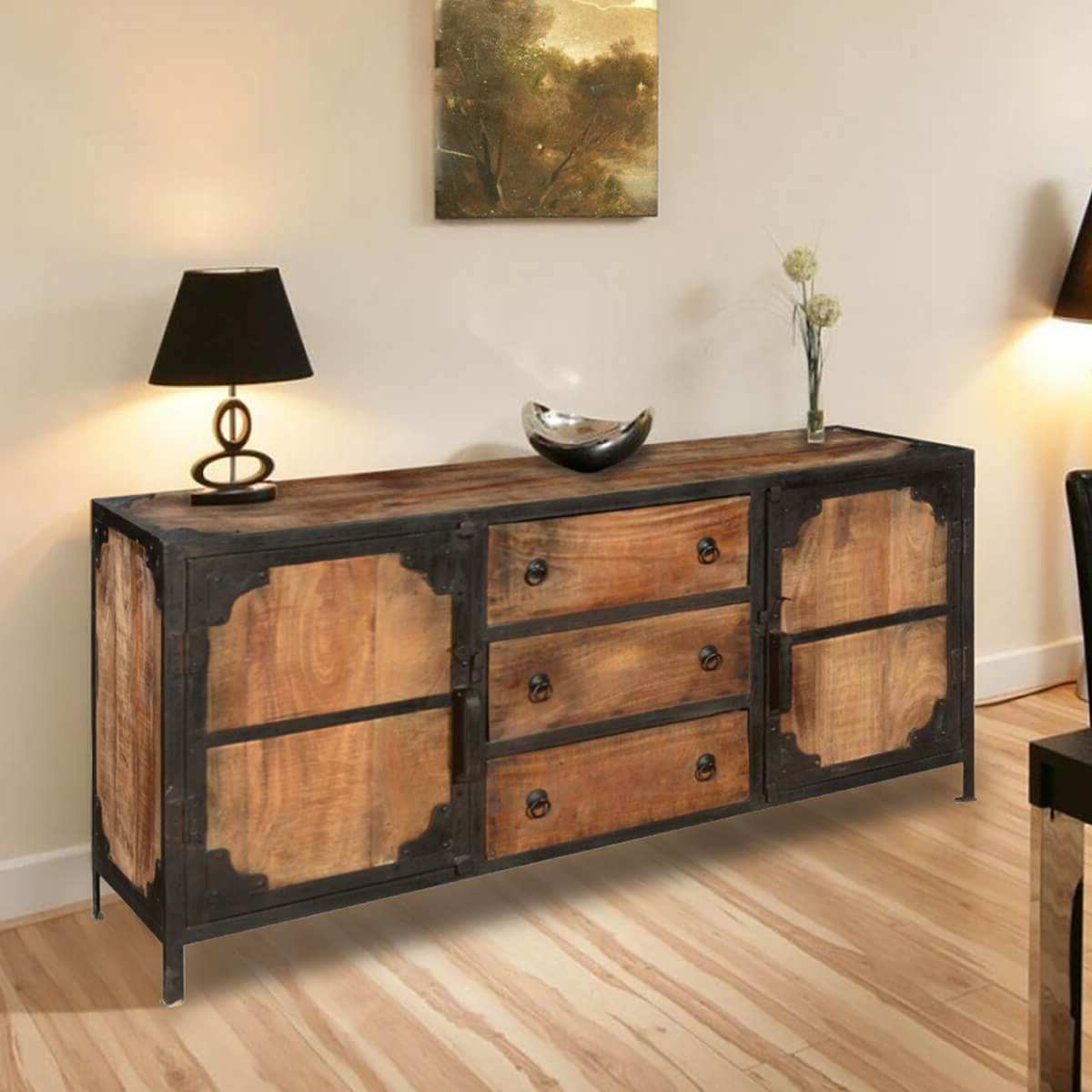 Industrial 3 Drawer 3 Door Sideboards Pertaining To Most Current Windsor Solid Wood & Iron 3 Drawer & 2 Door Industrial Buffet Cabinet (View 6 of 20)