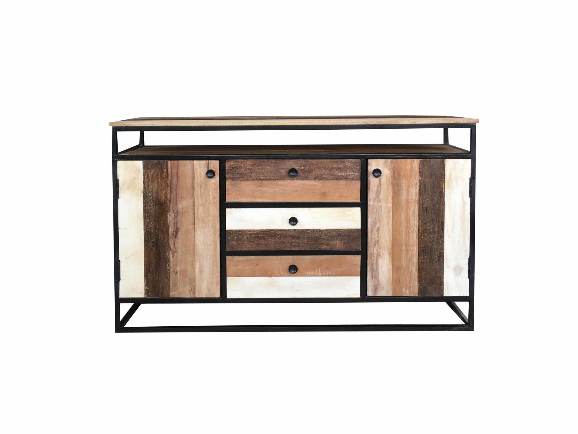 Industrial Reclaimed Mango Wood 2 Door 3 Drawer Sideboard With Metal Intended For Preferred Metal Framed Reclaimed Wood Sideboards (Gallery 6 of 20)