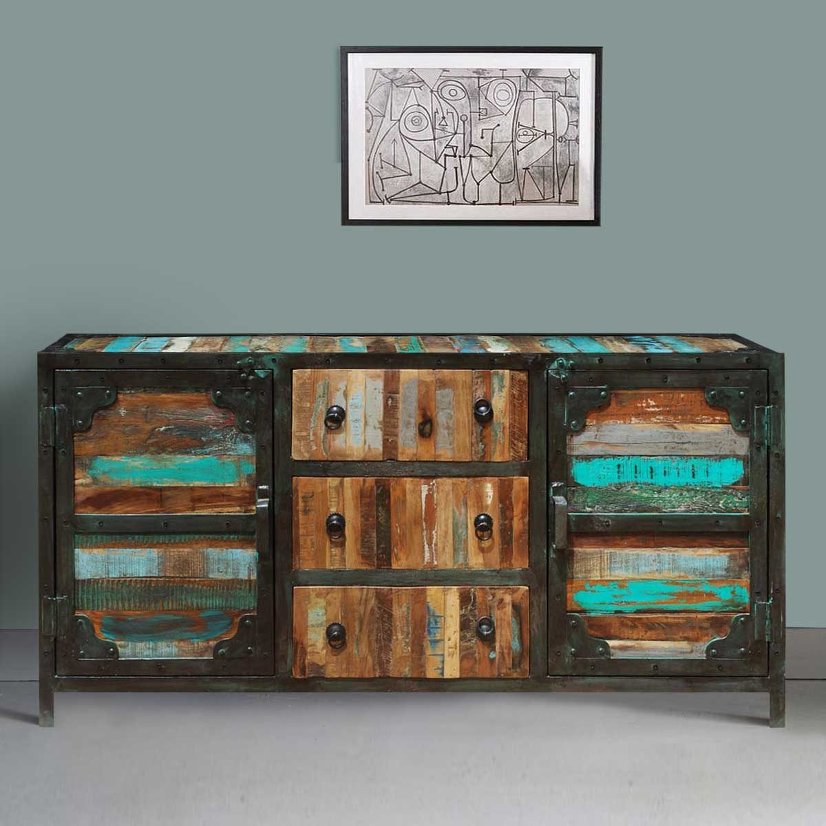 Industrial Sideboard Buffet For Most Current Reclaimed 3 Drawer Icebox Sideboards (View 16 of 20)