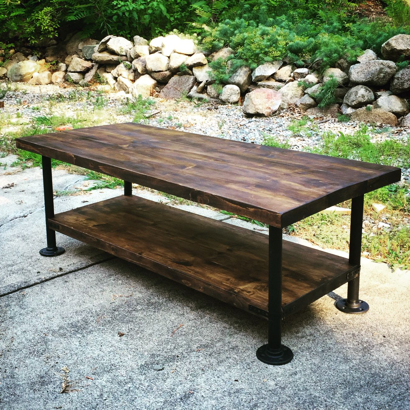 Industrial Style Wood Coffee Table With Steel Pipe Legs (Gallery 7 of 20)