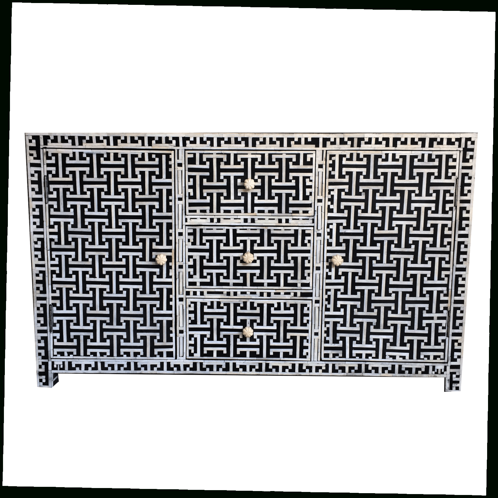 Iris Furnishing Inside Newest Geo Pattern Black And White Bone Inlay Sideboards (Gallery 1 of 20)