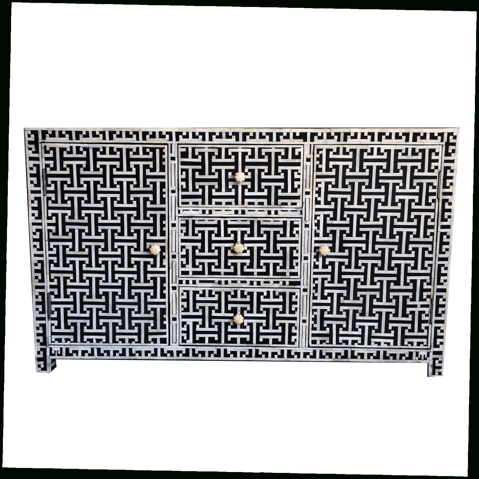 Iris Furnishing Inside Newest Geo Pattern Black And White Bone Inlay Sideboards (View 1 of 20)