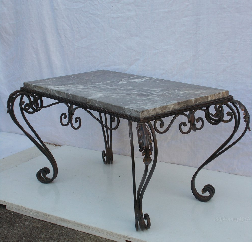 Iron Marble Coffee Tables For Latest French Wrought Iron & Marble Coffee Table – Antiques Atlas (View 6 of 20)