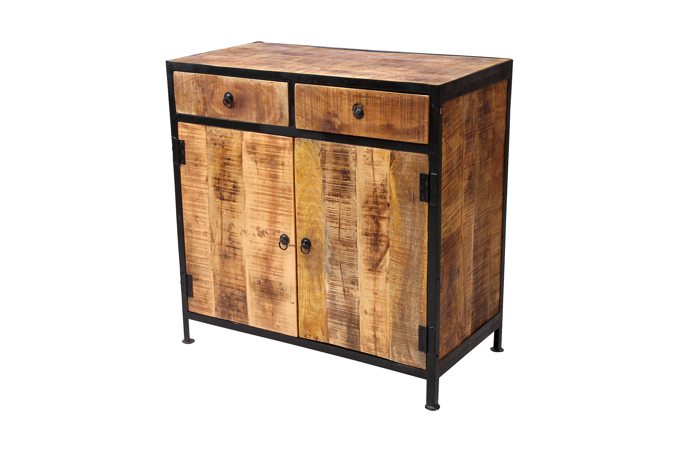 Iron Pine Sideboards With Recent Millwood Pines Dante Industrial Reclaimed Wood And Iron 2 Drawer (View 18 of 20)