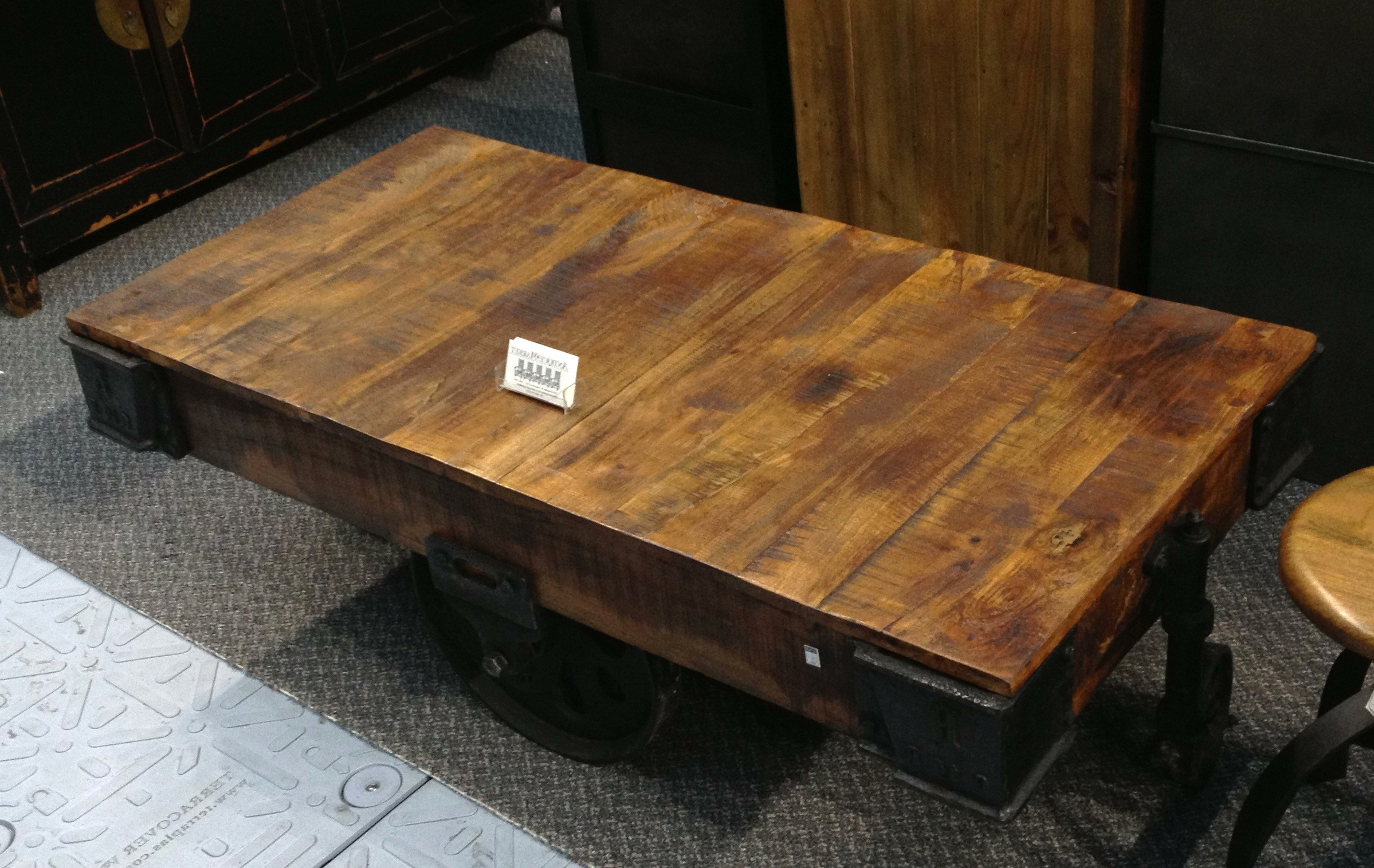 Iron Wood Coffee Tables With Wheels For Latest Coffee Table (View 9 of 20)