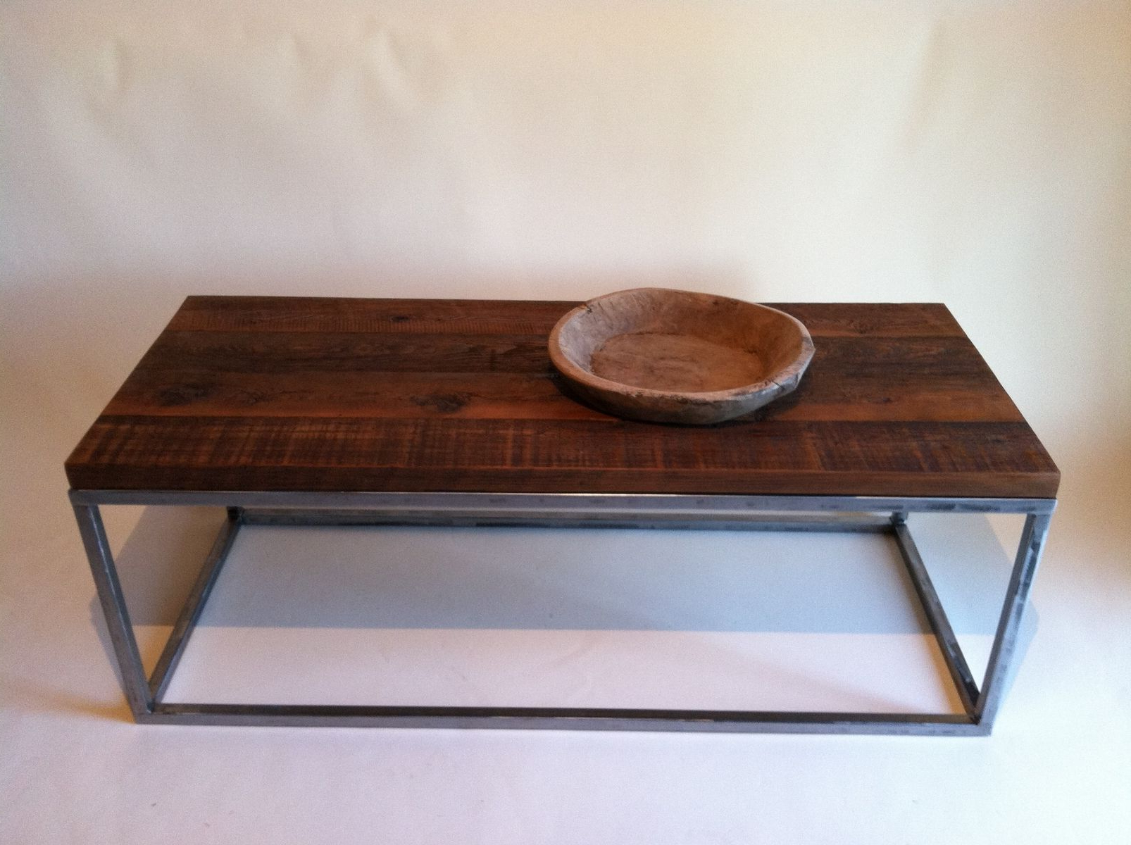 Iron Wood Coffee Tables With Wheels In Famous Handmade Reclaimed Wood Coffee Tables With Rectagular Polished Metal (View 10 of 20)