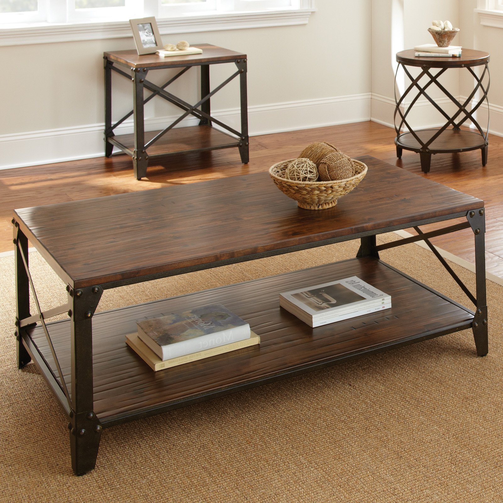 Iron Wood Coffee Tables With Wheels Within Most Recent Steve Silver Winston Rectangle Distressed Tobacco Wood And Metal (View 10 of 20)