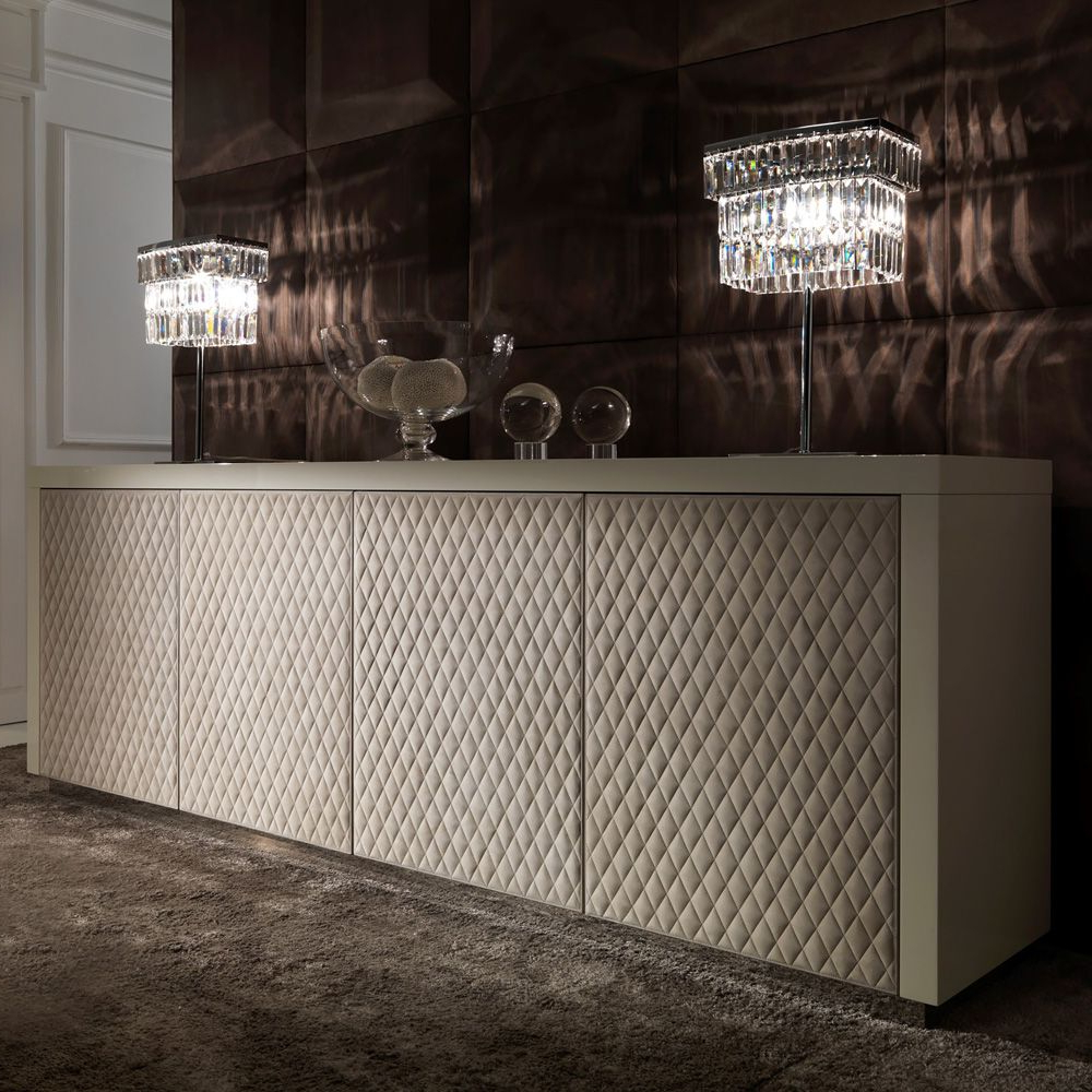 Italian Designer Lacquered Quilted Leather Sideboard In  (View 14 of 20)