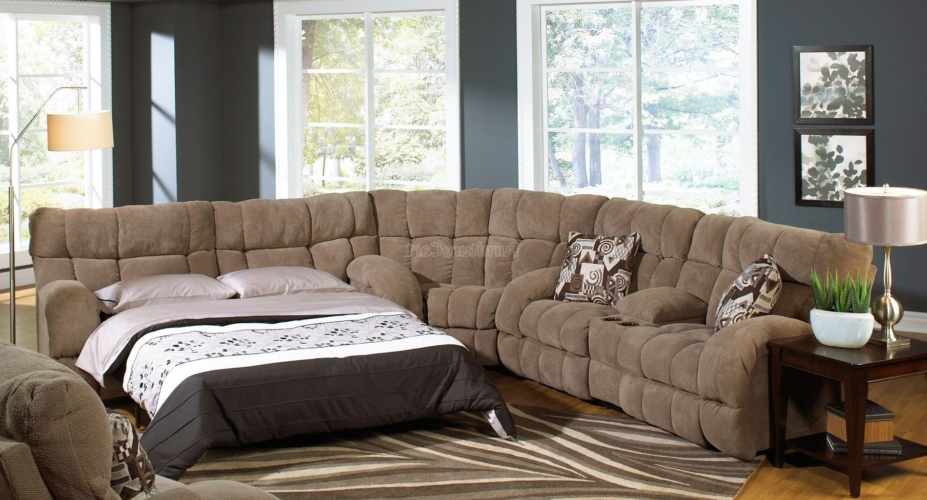 Jackson 6 Piece Power Reclining Sectionals With  Sleeper For Current Siesta Reclining Sectional W/ Sleeper (Porcini) (View 3 of 20)