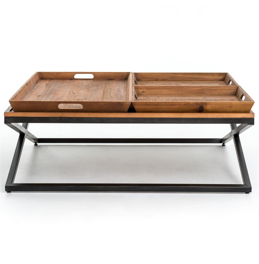 Jaxon Cocktail Tables With Regard To Best And Newest Jaxon Trio Tray Top Wood Iron Industrial Square Coffee Table (Gallery 11 of 20)