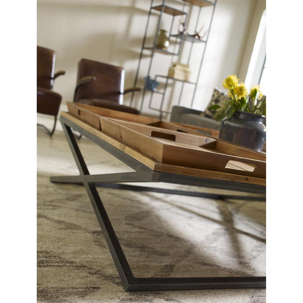 Jaxon Cocktail Tables Within Recent Jaxon Trio Tray Top Wood Iron Industrial Square Coffee Table (View 11 of 20)