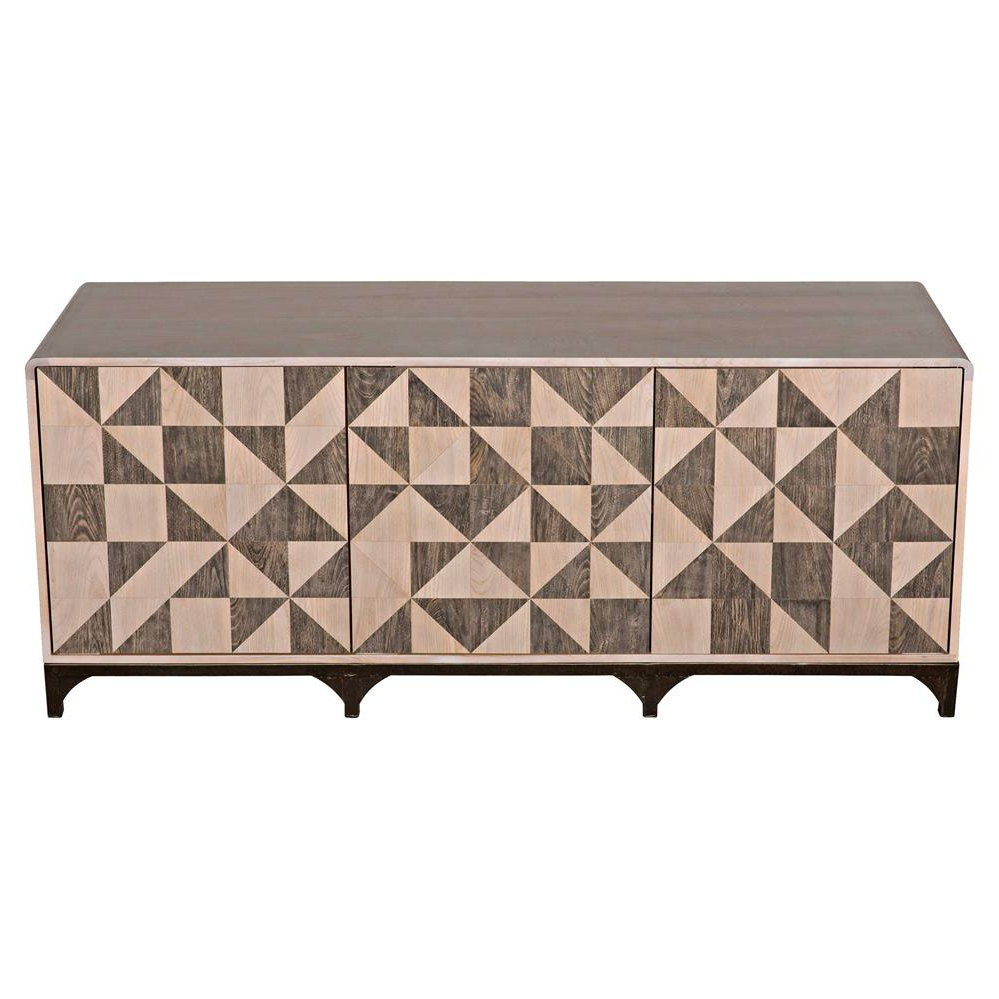 Jaxon Grey Sideboards In Widely Used Lincoln Industrial Loft Geometric Walnut Parquetry Brown Metal Three (Gallery 10 of 20)