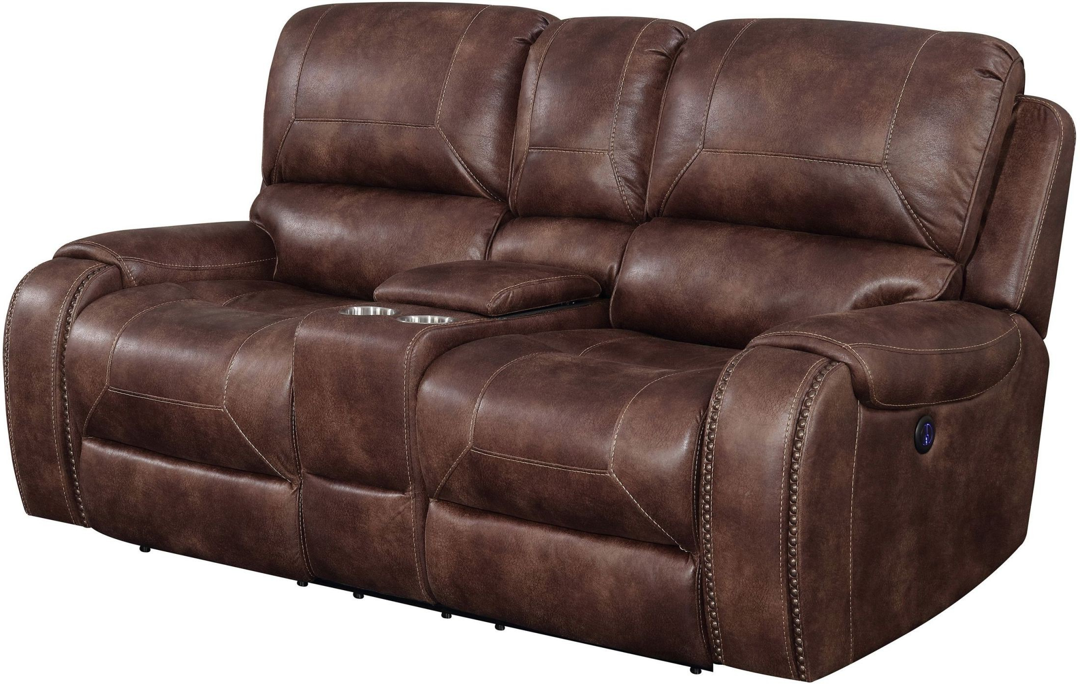 Jennings Waylon Mocha Power Reclining Console Loveseat From Prime With Most Current Waylon 3 Piece Power Reclining Sectionals (Gallery 19 of 20)