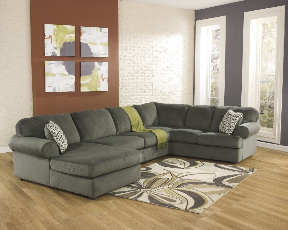Jessa Place – Pewter 3 Pc. Raf Chaise Sectional (Gallery 9 of 20)