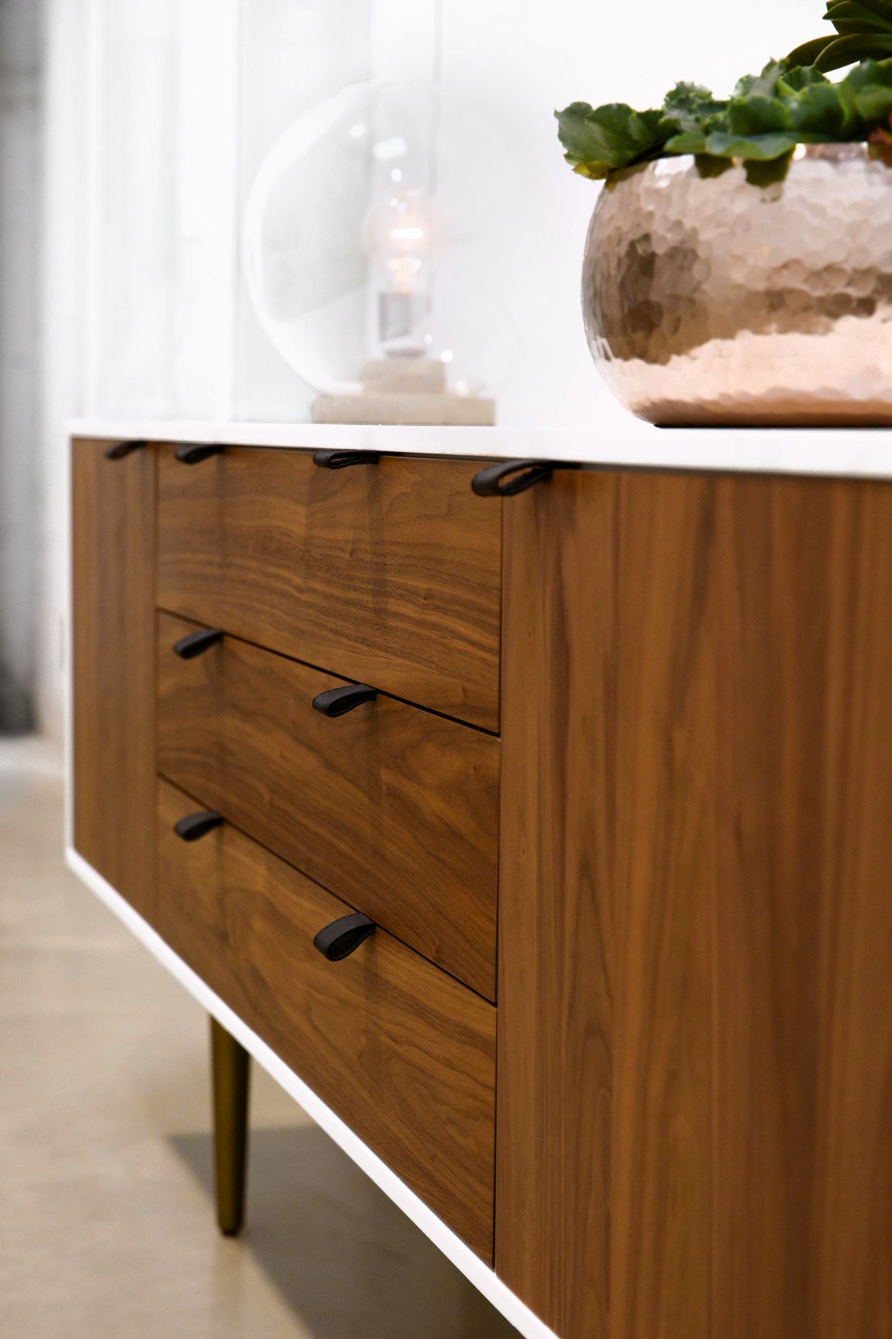 Jigsaw Refinement Sideboards For Well Known White And Walnut Sideboard, Bronze Legs (Gallery 9 of 20)