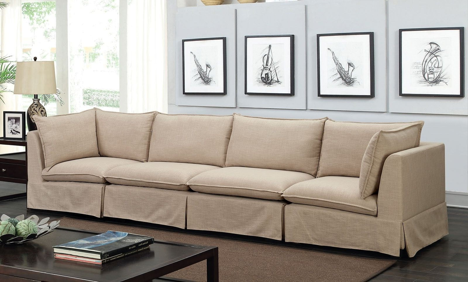 Joelle 3 Piece Beige Sectional From Furniture Of America (View 11 of 20)