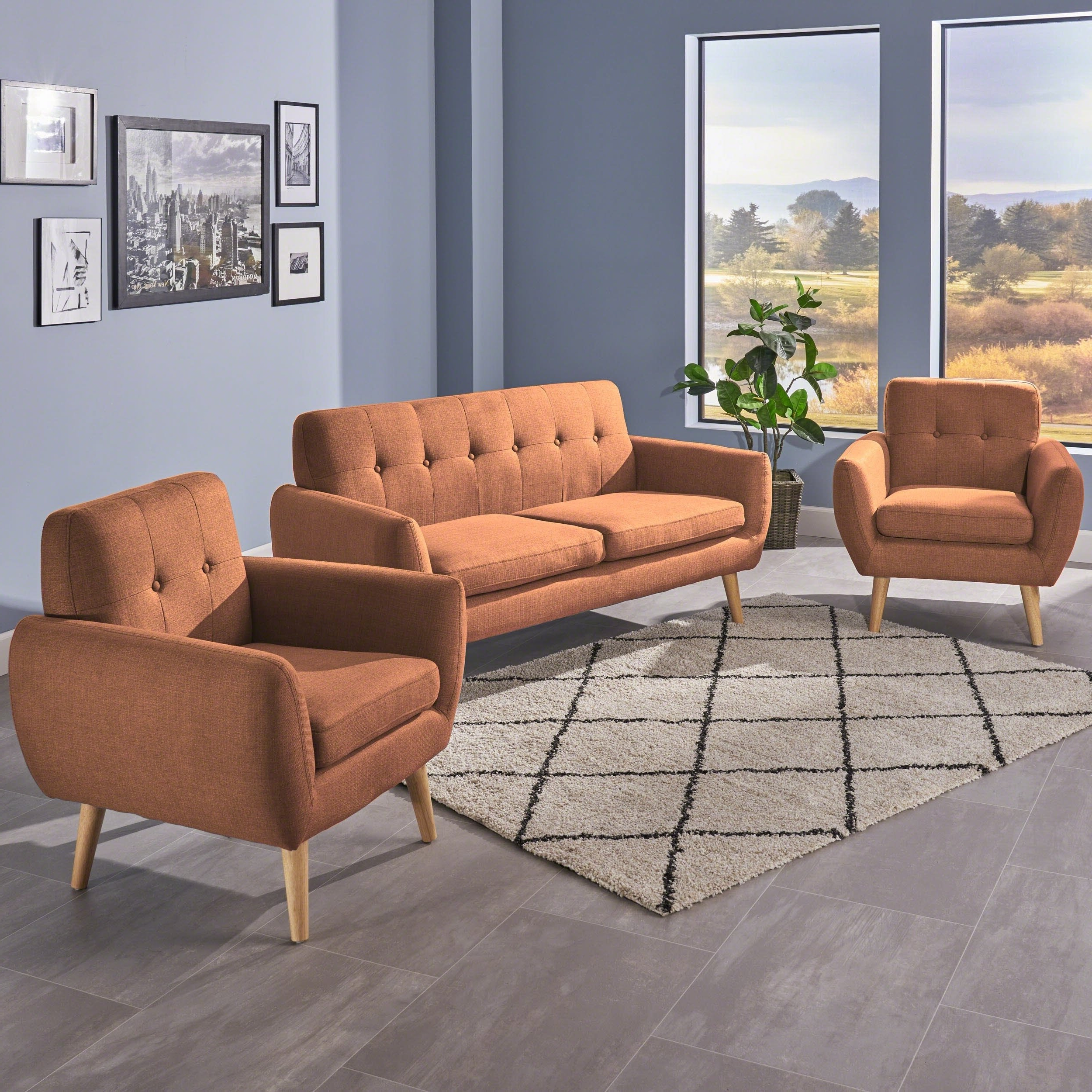 Josephine 2 Piece Sectionals With Raf Sofa Intended For Fashionable Shop Josephine Mid Century Modern 3 Piece Petite Fabric Chat Set (View 9 of 20)