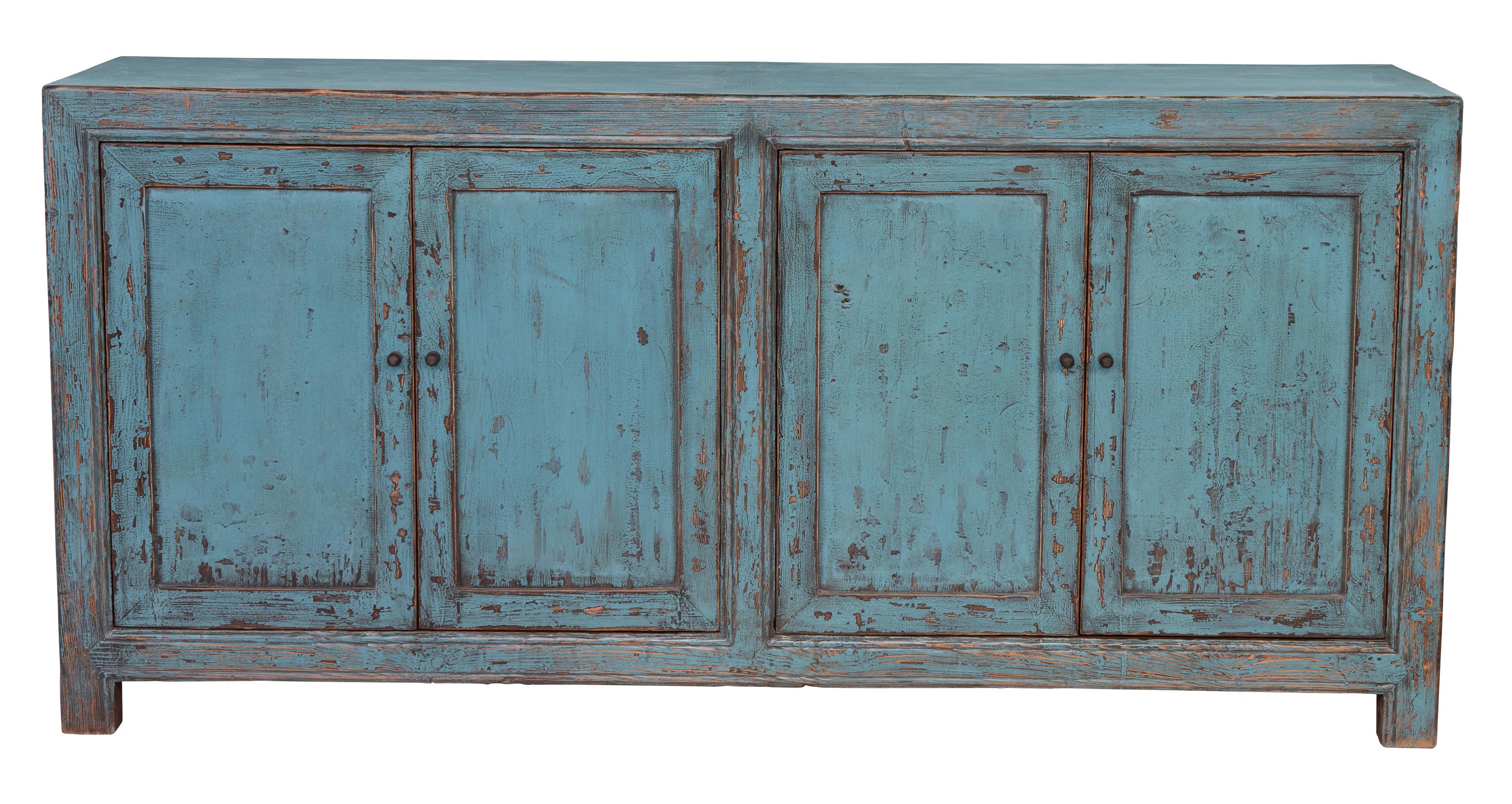 Featured Photo of Reclaimed Pine Turquoise 4 Door Sideboards