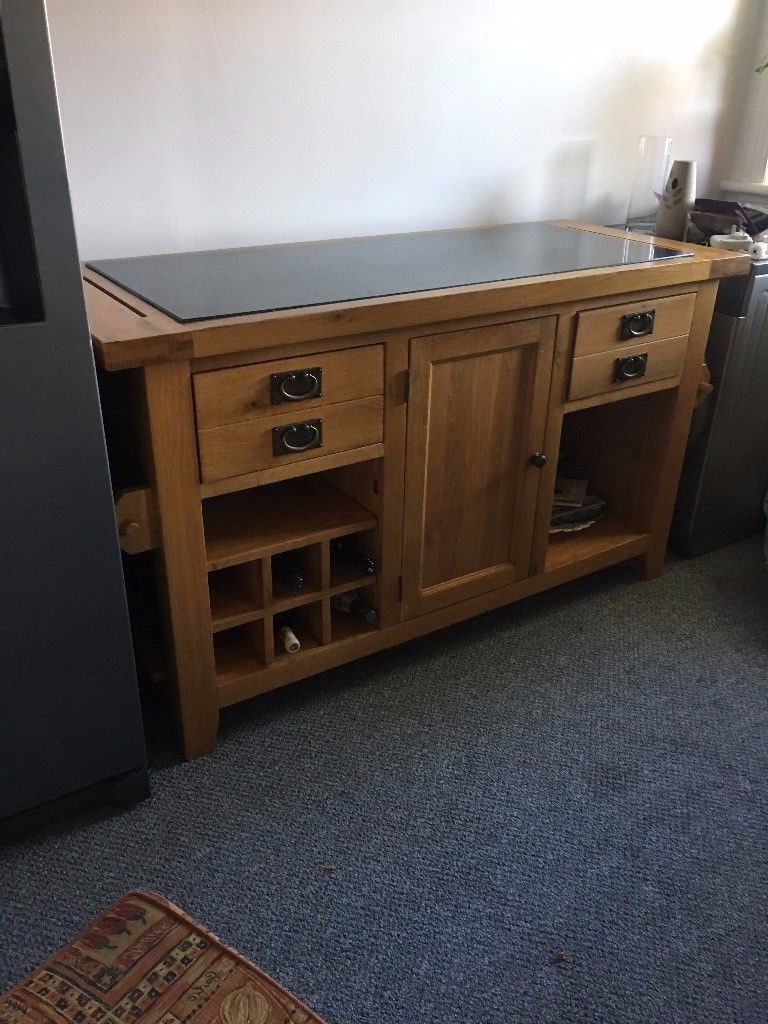 Kitchen Island – 6' Long 4' Wide. Solid Wood Marbeld Top With Doors Intended For Famous Leven Wine Sideboards (Gallery 1 of 20)