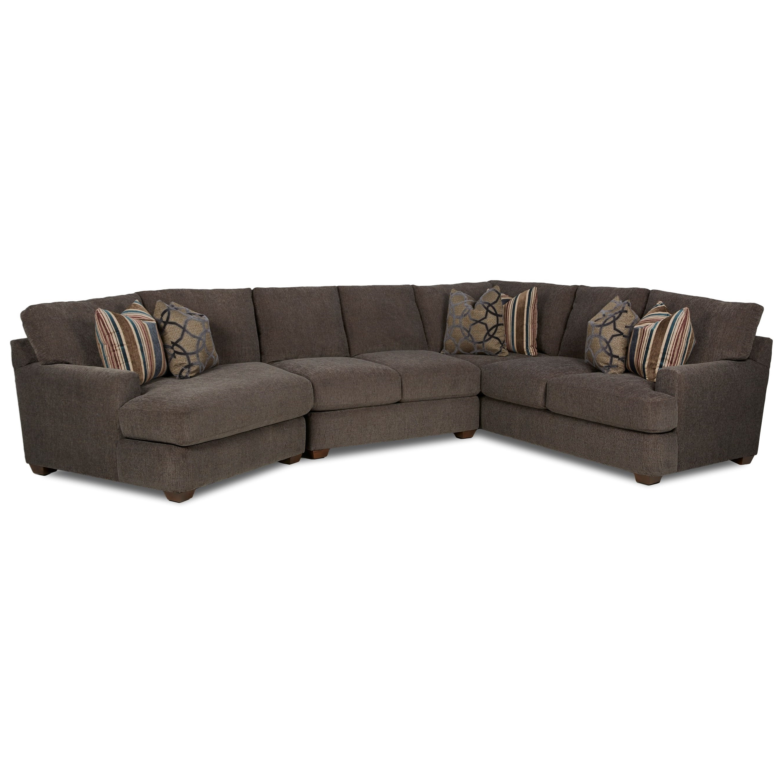 Klaussner Haynes Three Piece Sectional Sofa With Raf Cuddler (View 5 of 20)