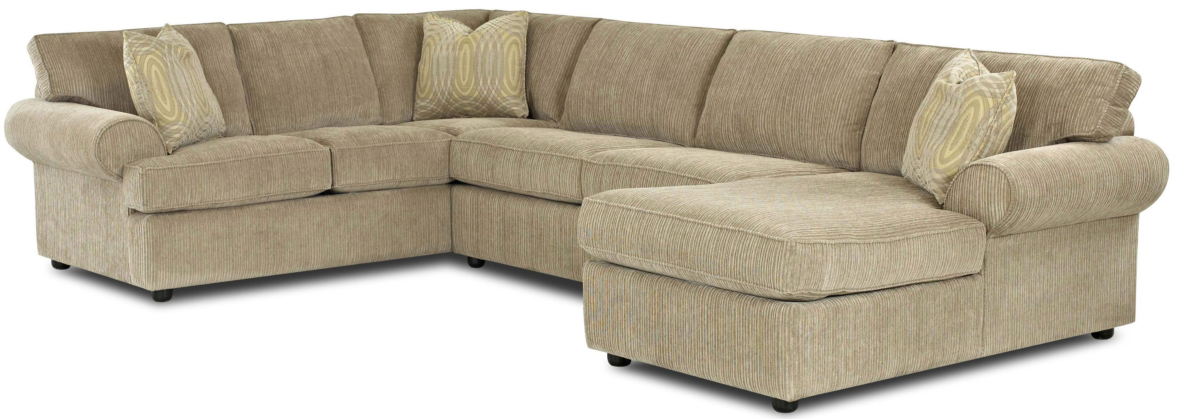 Klaussner Julington Transitional Sectional Sofa With Rolled Arms And With Regard To Most Popular Norfolk Grey 3 Piece Sectionals With Laf Chaise (View 9 of 20)