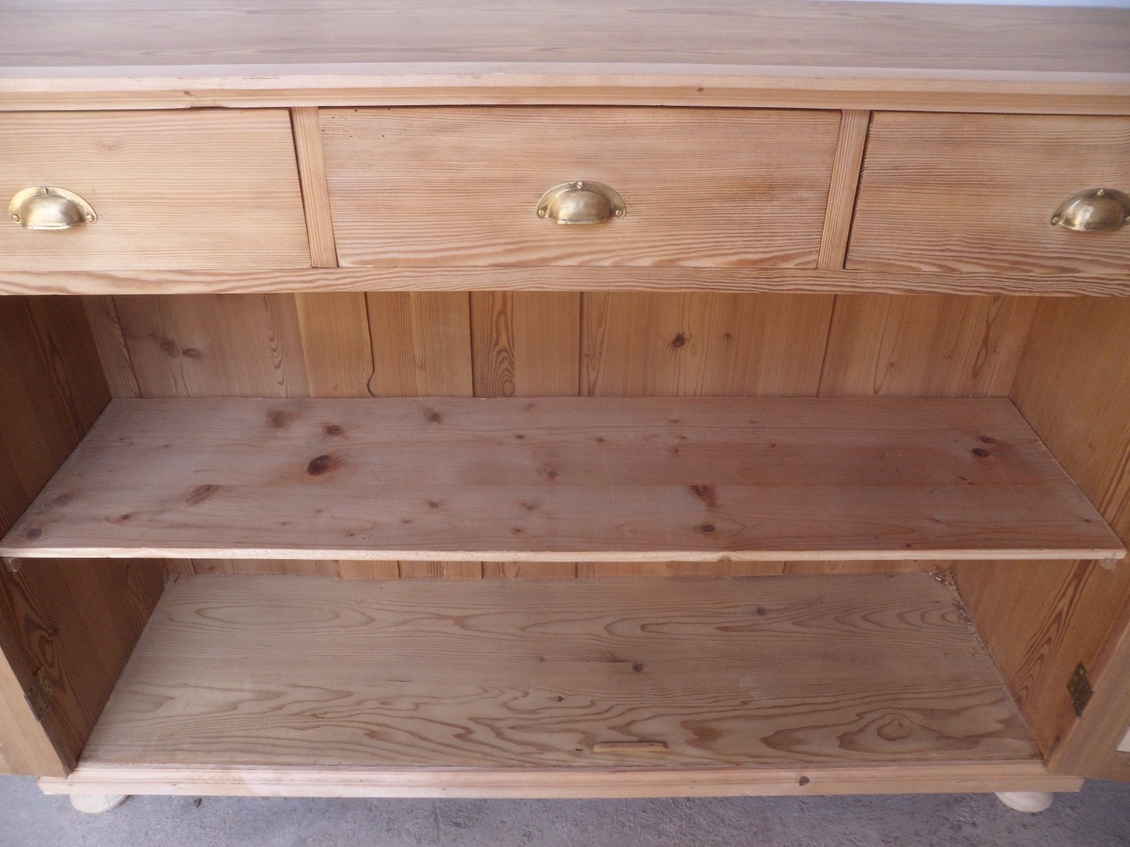 Large Narrow Old Pine 2 Door 3 Drawer Kitchen Dresser Base To Wax Regarding Most Up To Date Aged Pine 3 Drawer 2 Door Sideboards (View 13 of 20)