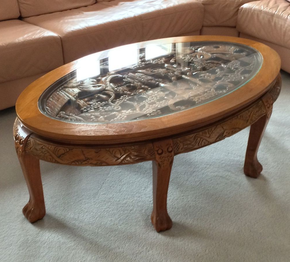 Large Scale Chinese Farmhouse Coffee Tables Pertaining To Most Up To Date Amazing Hand Carved Chinese Coffee Table With Glass Top ,great (View 3 of 20)