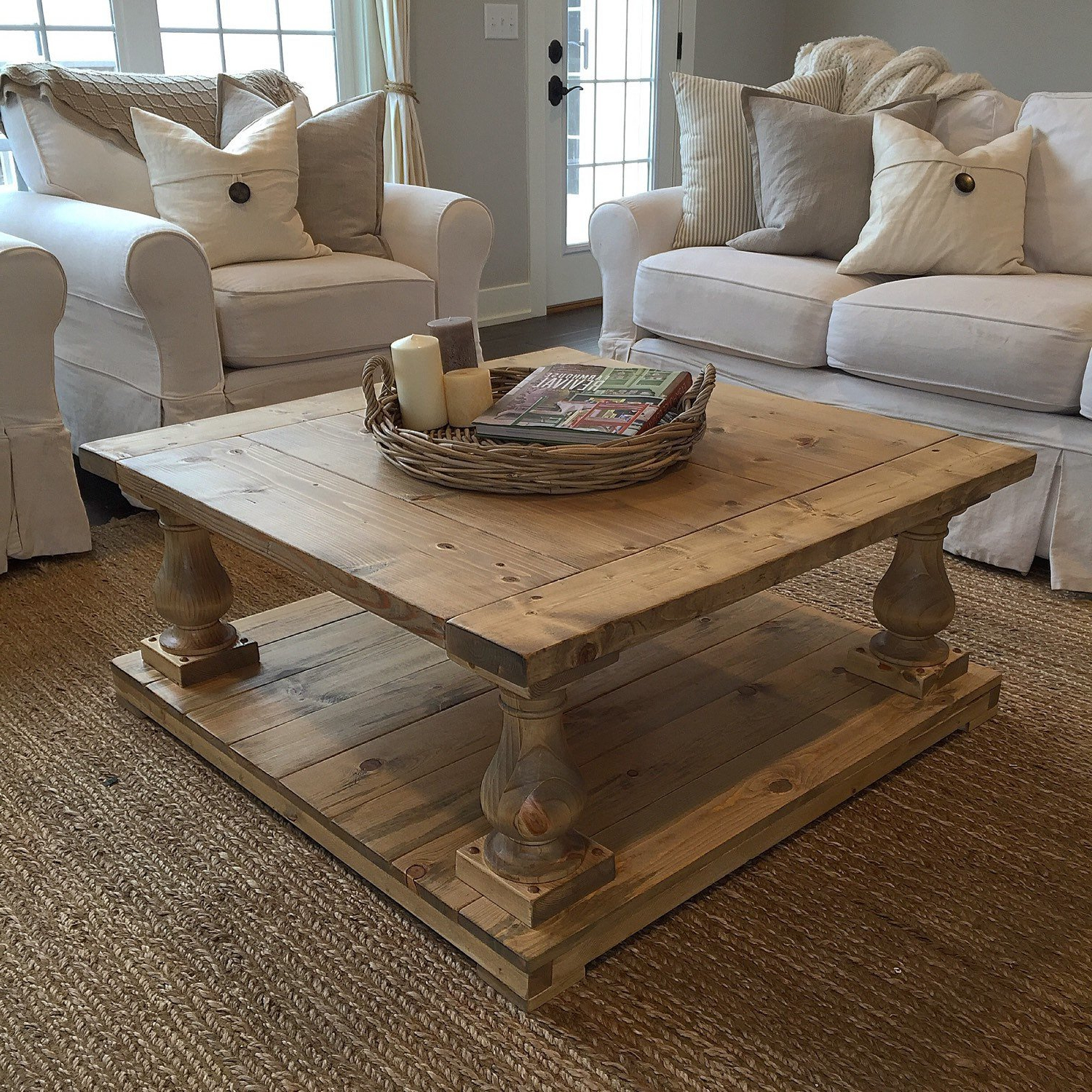Large Scale Chinese Farmhouse Coffee Tables With 2019 Rustic Farmhouse Cottage Baluster Coffee Table (Gallery 6 of 20)