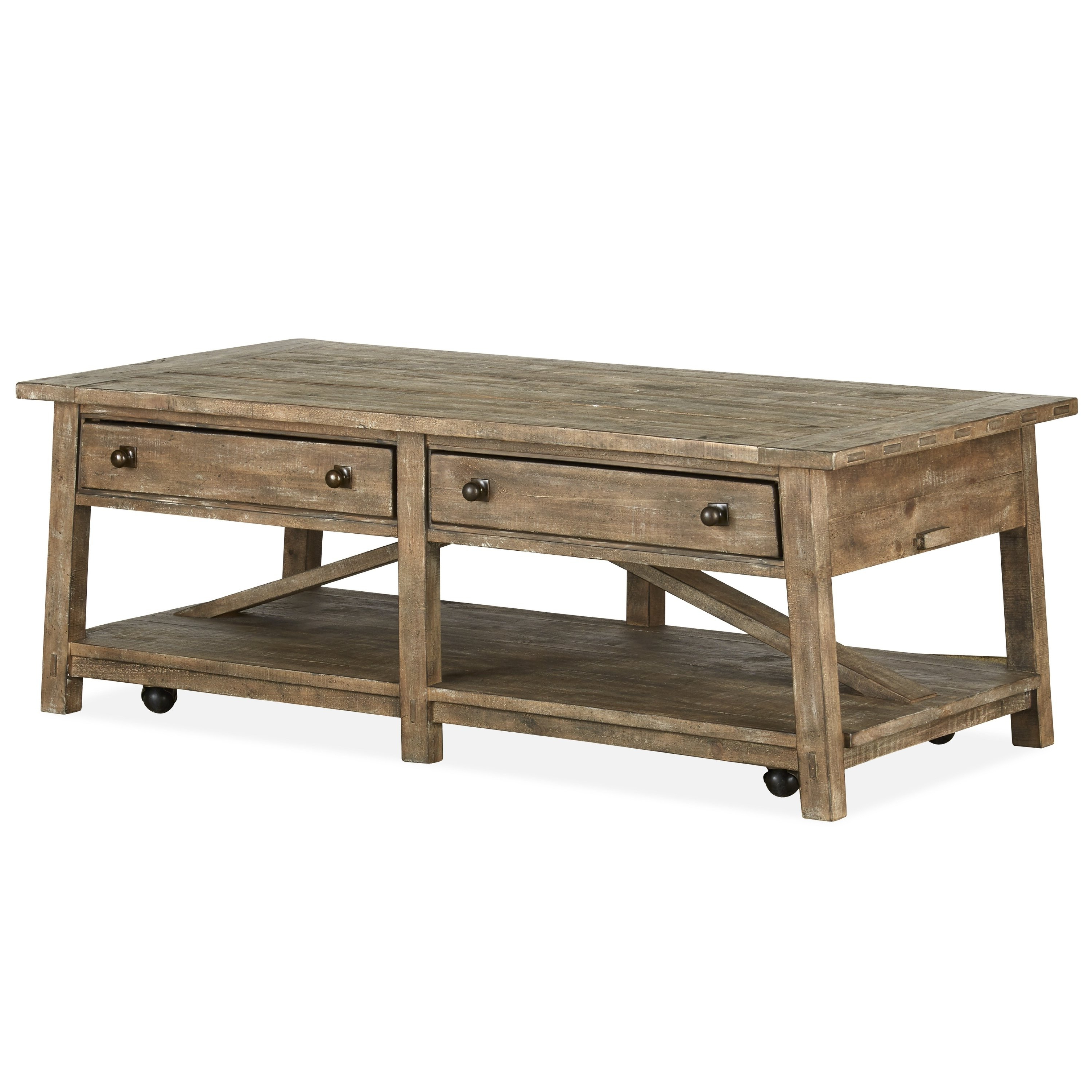 Lassen Square Lift Top Cocktail Tables Intended For Fashionable Shop Bluff Heights Rustic Weathered Coffee Table With Casters – On (Gallery 8 of 20)