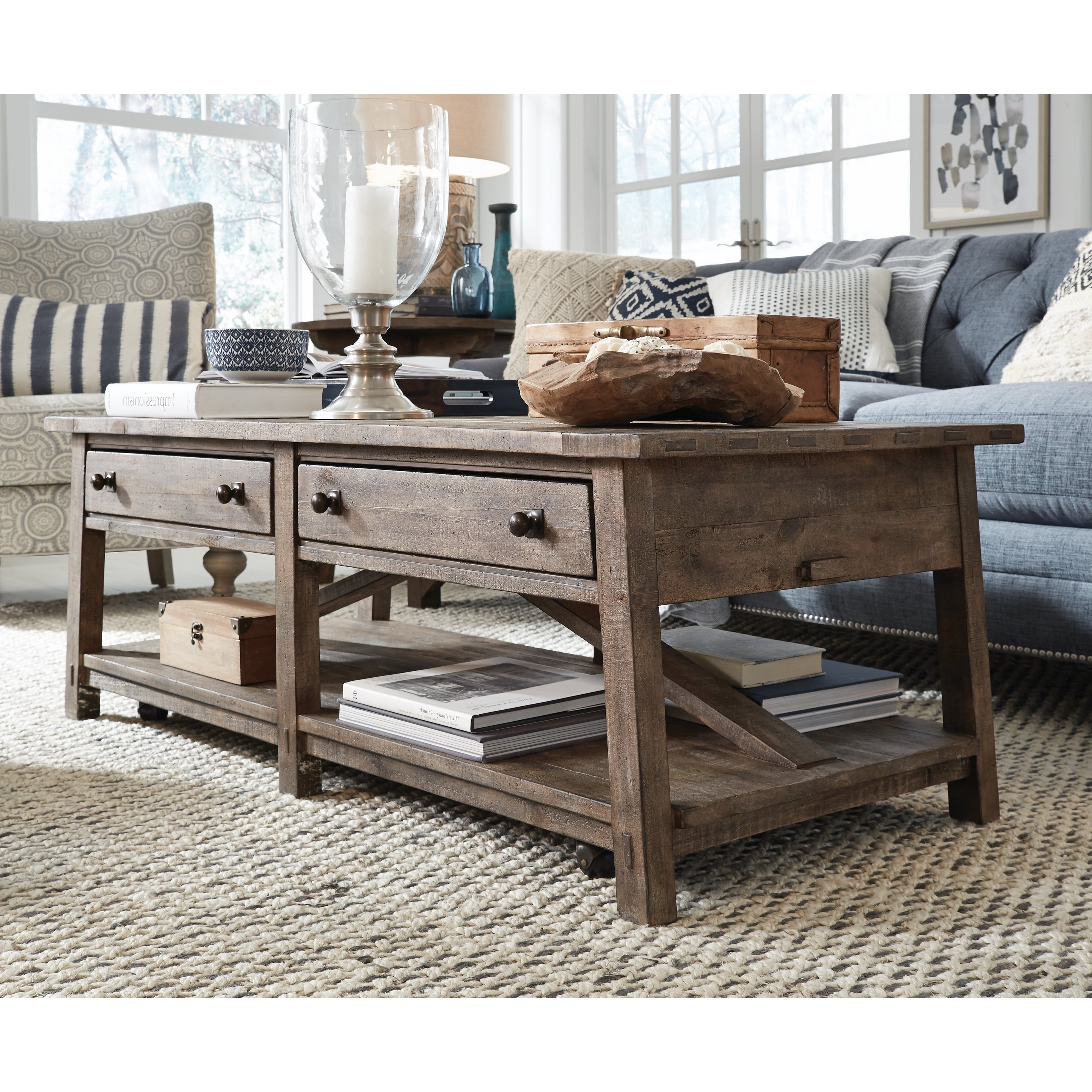 Lassen Square Lift Top Cocktail Tables With Regard To Preferred Shop Bluff Heights Rustic Weathered Coffee Table With Casters – On (View 4 of 20)